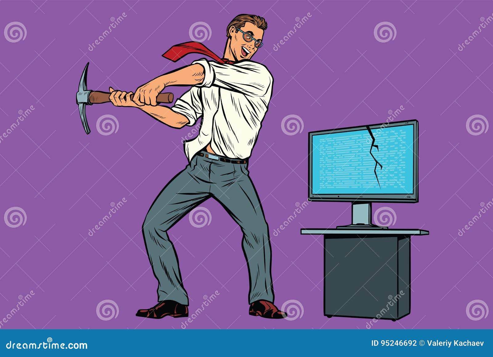 Biznesmen łama komputer, szyfranta wirusa ransomware