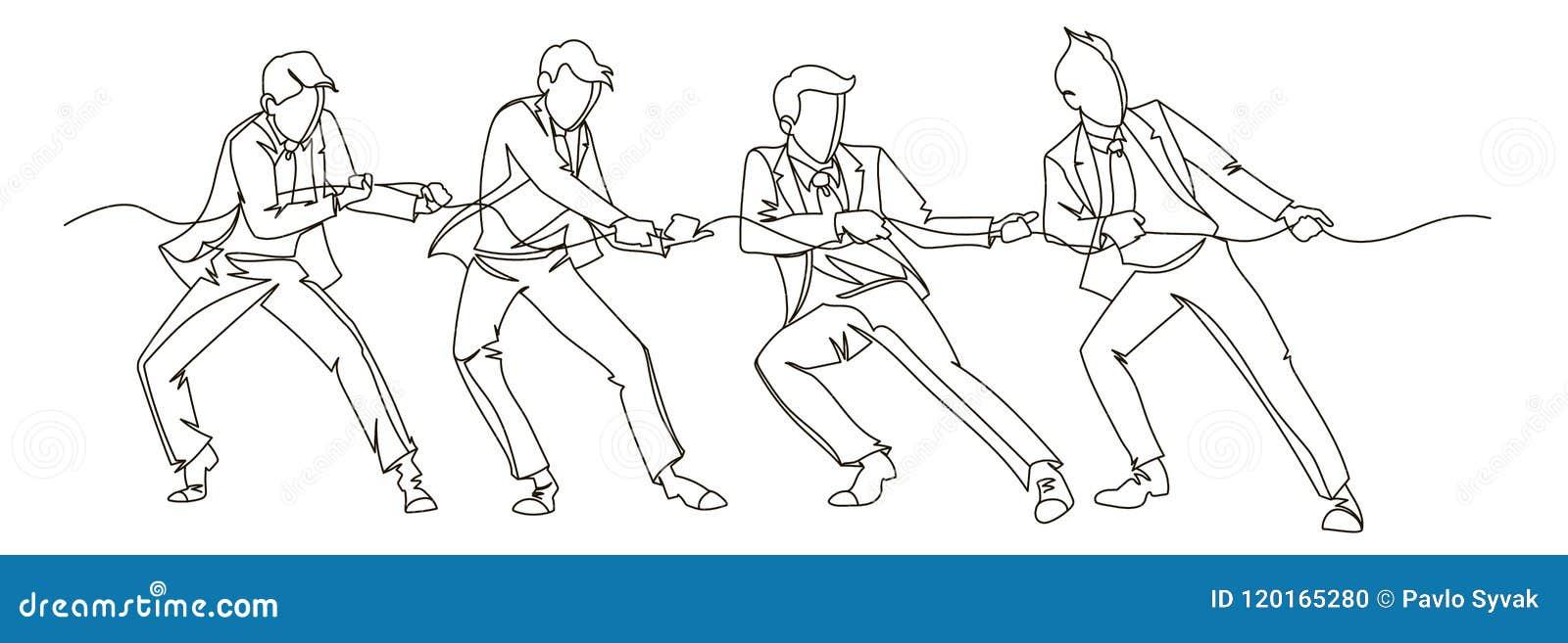 Biznesmen Ciągnie Linową Ciągłą Kreskową sztukę Biznesowej pracy zespołowej Liniowy pojęcie Sylwetek ludzie Turniejowi