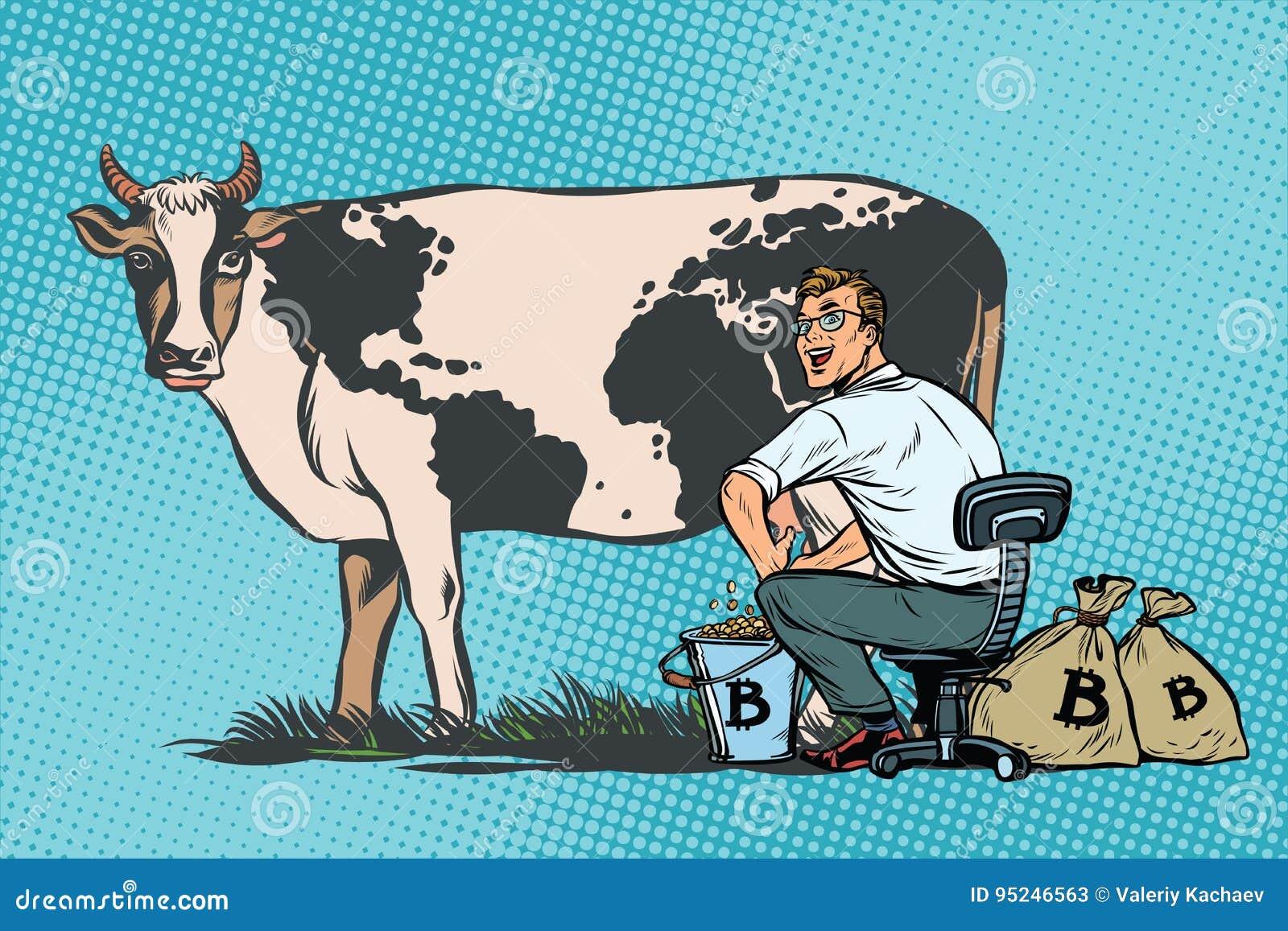 Biznesmen doi krowy minuje bitcoins, światowy biznes