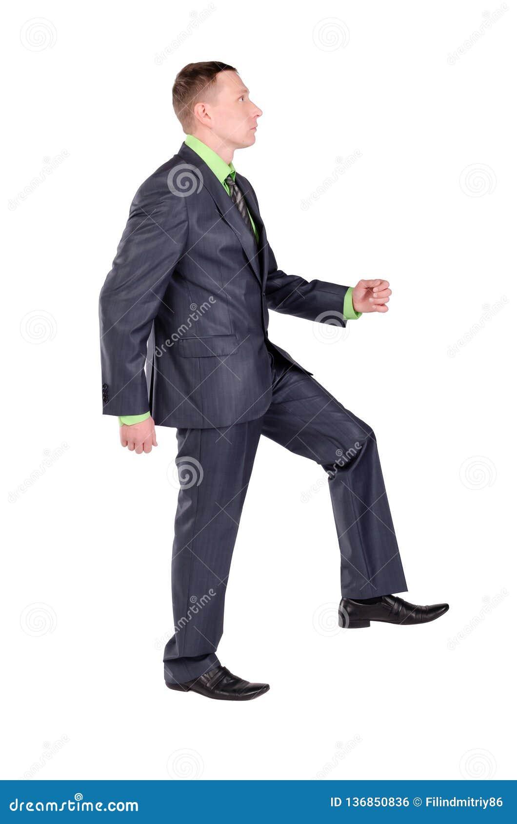 Biznesmen iść na piętrze odizolowywa