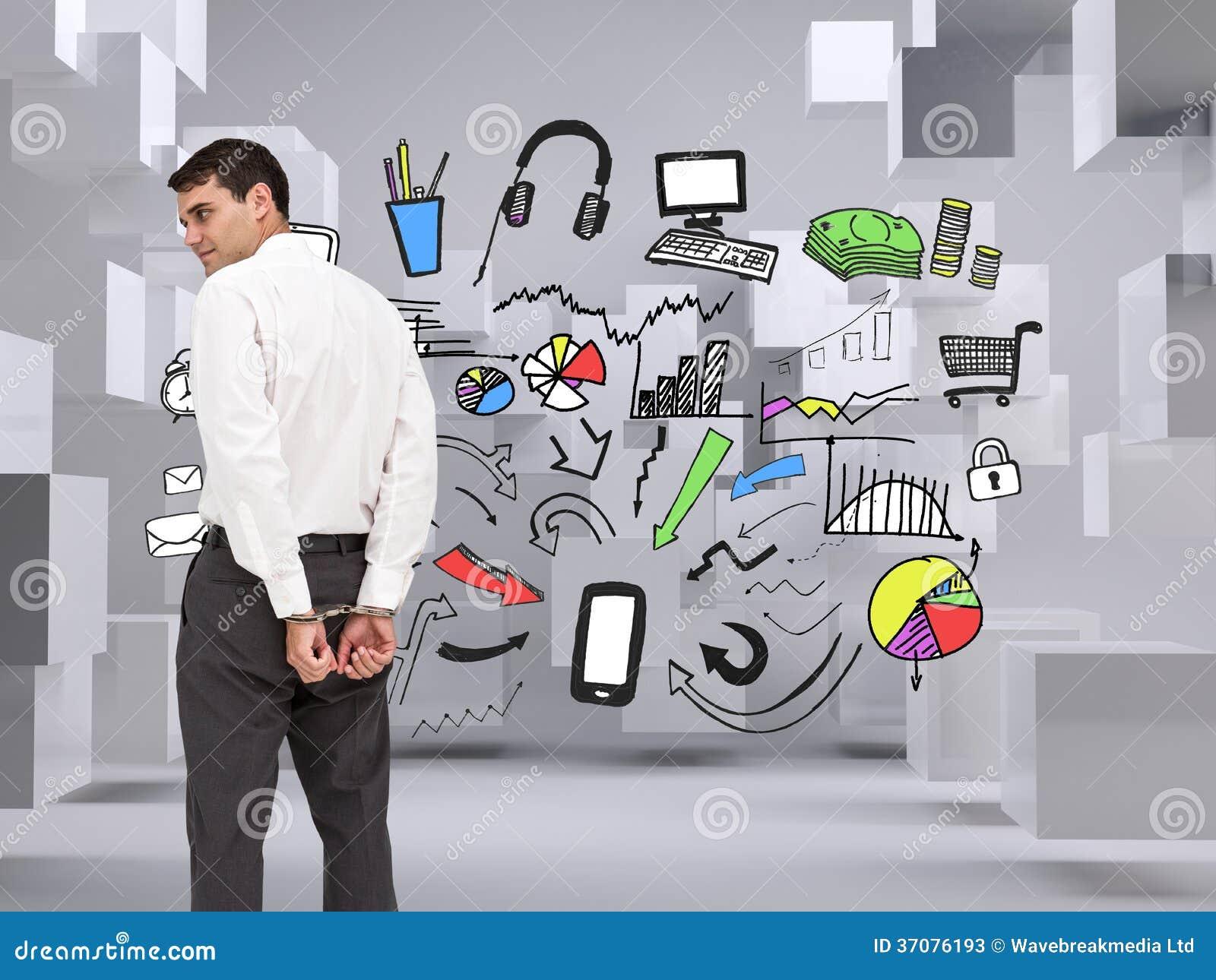 Download Biznesmen Jest Ubranym Kajdanki Obraz Stock - Obraz złożonej z grafika, charcica: 37076193