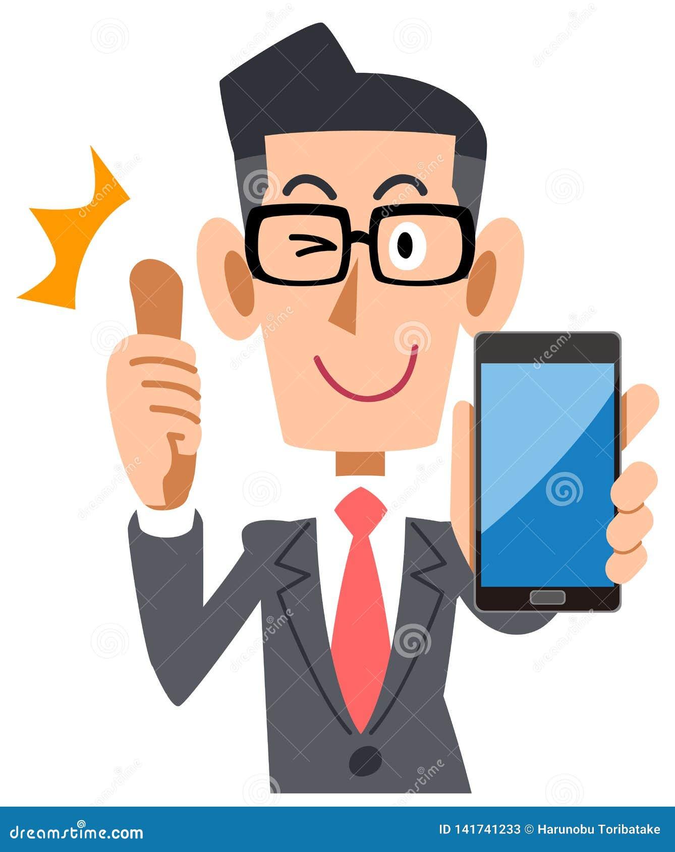 Biznesmen jest ubranym szkła kciuk z w górę smartphone