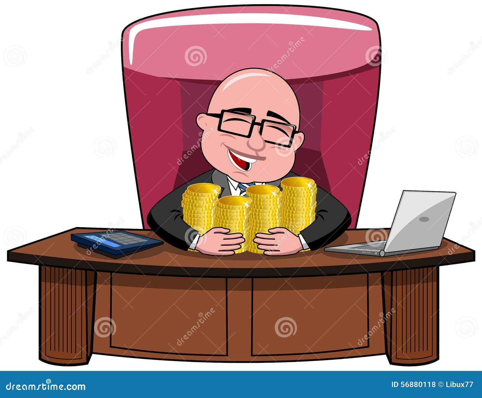 Biznesmen kreskówki szefa pieniądze Łysy bogactwo