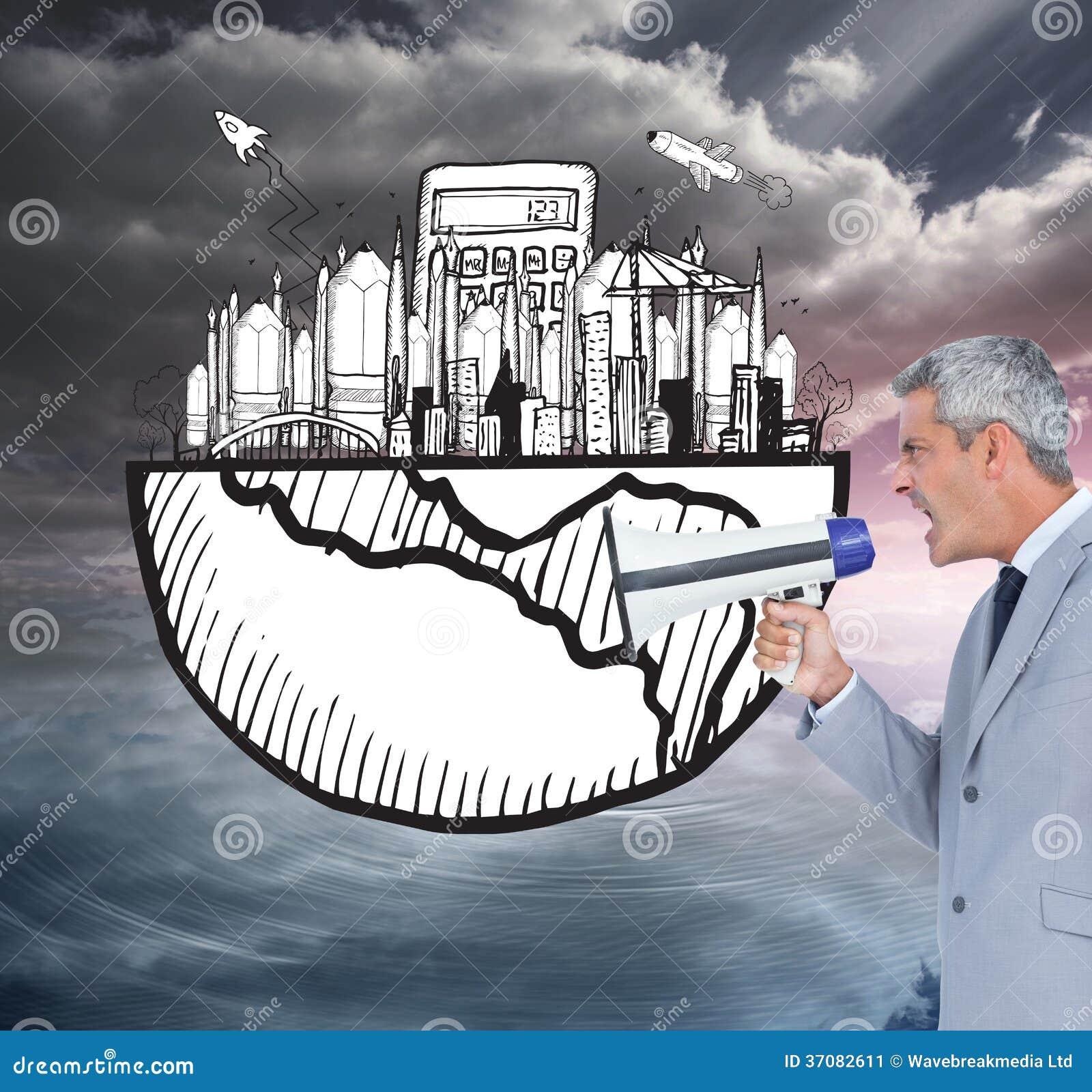 Download Biznesmen Krzyczy W Głośniku Obraz Stock - Obraz złożonej z mężczyzna, planeta: 37082611