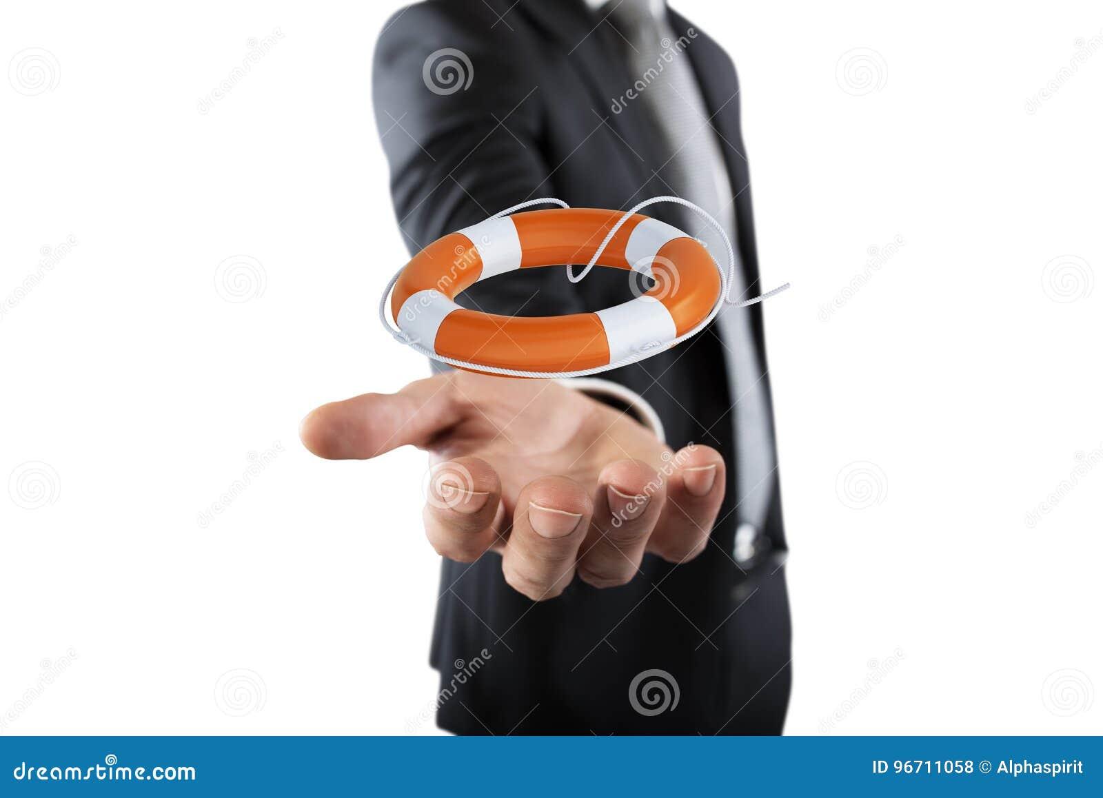 Biznesmen który trzyma lifebelt Pojęcie ubezpieczenie i pomoc w twój biznesie