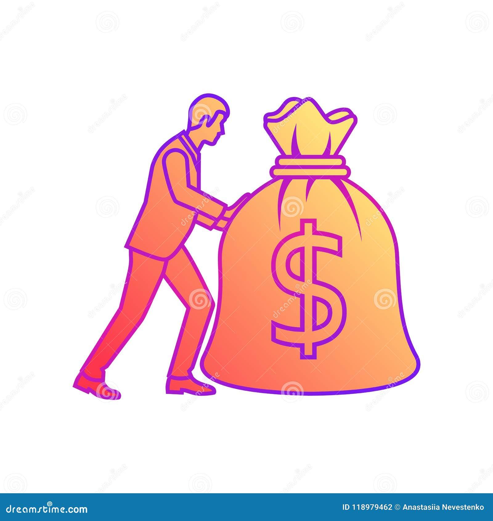 Biznesmen niesie dużą ciężką torbę pieniądze pełno