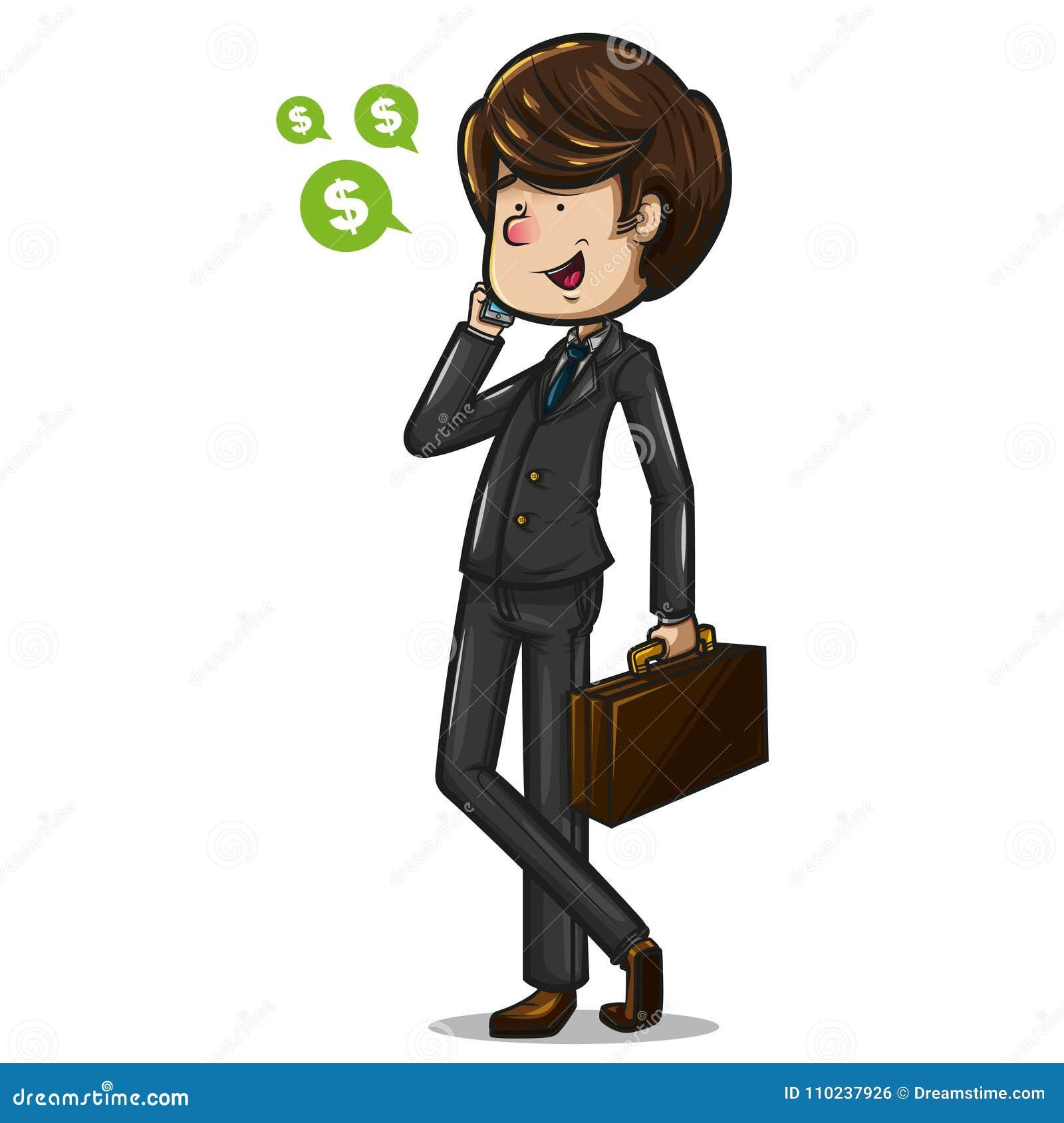Biznesmen opowiada na telefonie z portfolio