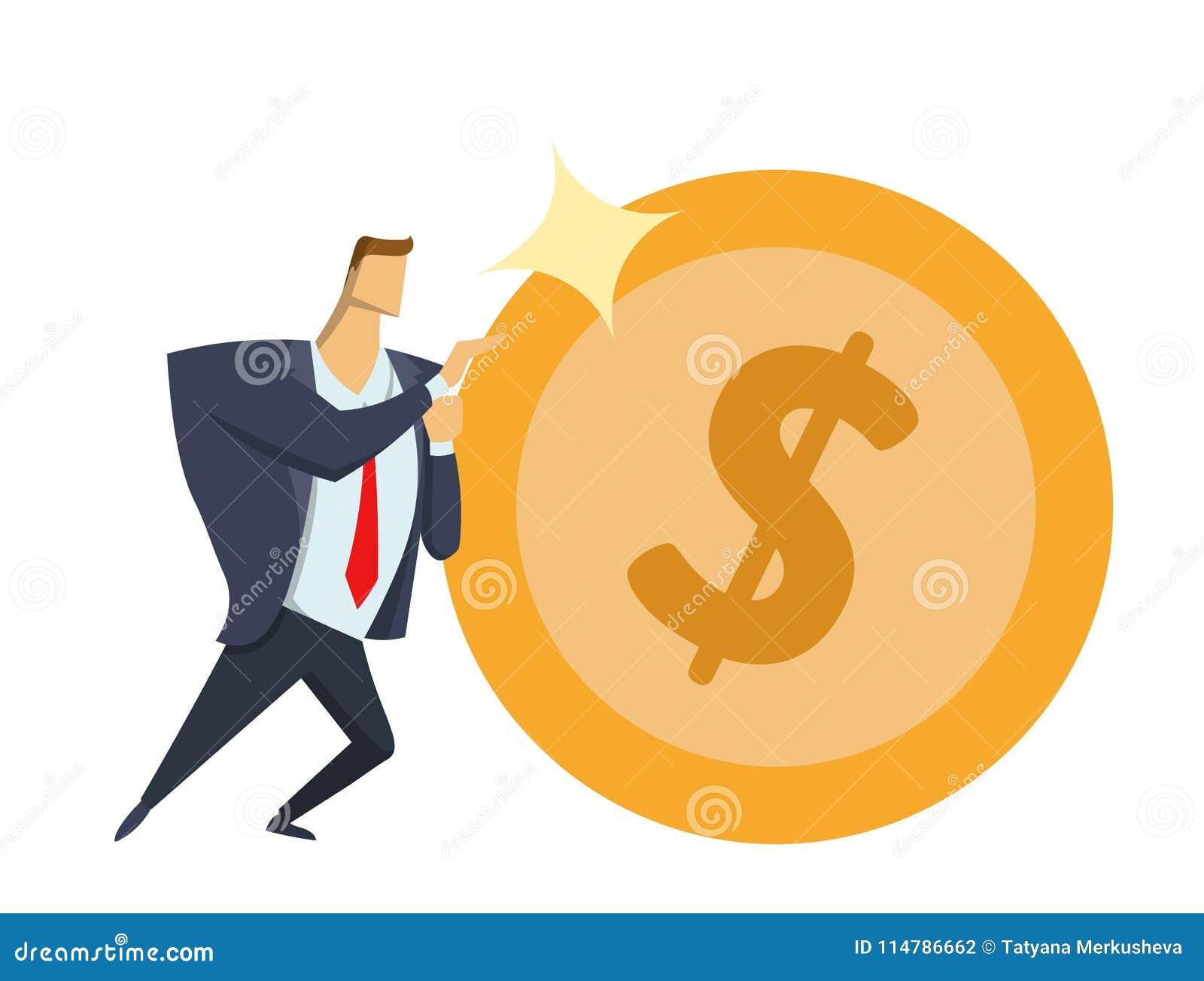 Biznesmen pcha dużą błyszczącą dolar monetę naprzód w biurowym kostiumu Dokonywać cele Rasa dla sukcesu Sisyphean biznes