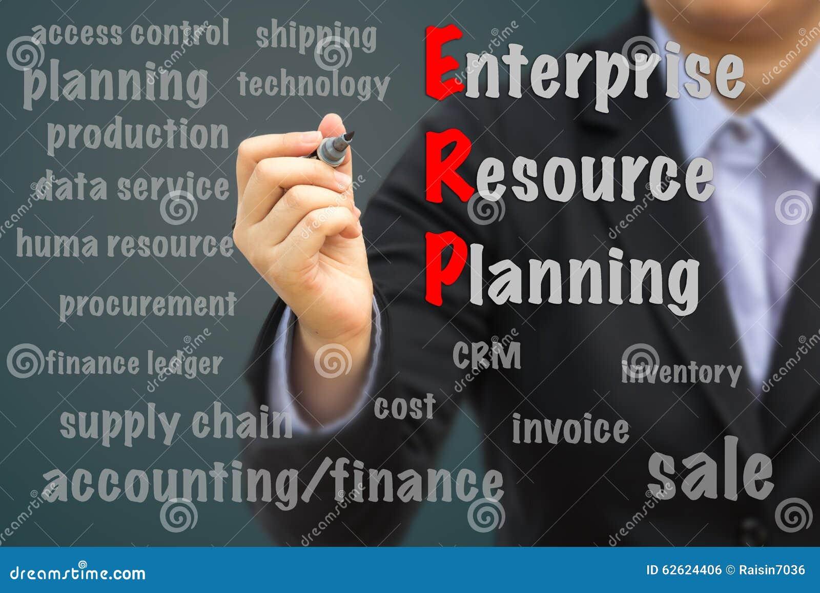 Biznesmen pisze ERP pojęciu