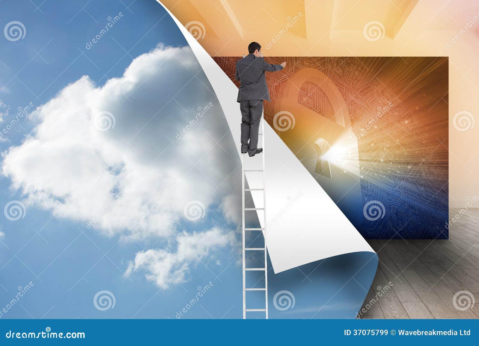 Download Biznesmen Pozycja Na Drabinie Obraz Stock - Obraz złożonej z bezpiecznie, ochrona: 37075799