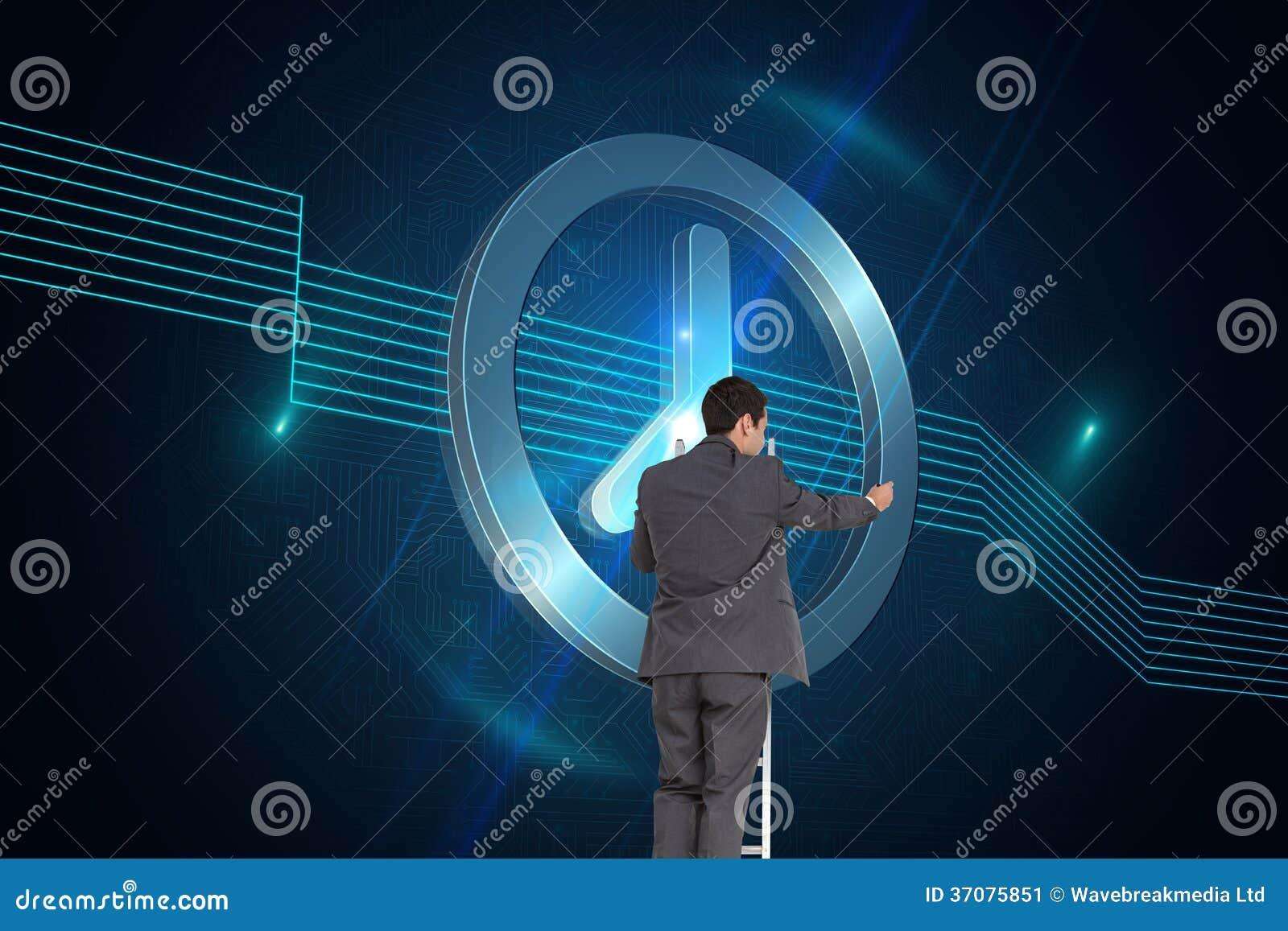 Download Biznesmen Pozycja Na Drabinie Obraz Stock - Obraz złożonej z alarm, digitise: 37075851