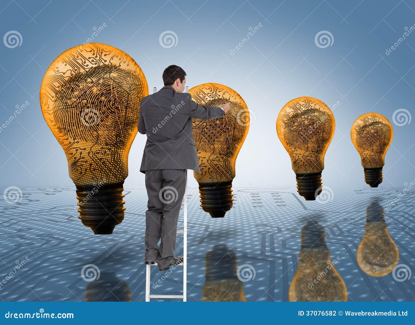 Download Biznesmen Pozycja Na Drabinie Zdjęcie Stock - Obraz złożonej z potomstwa, światło: 37076582