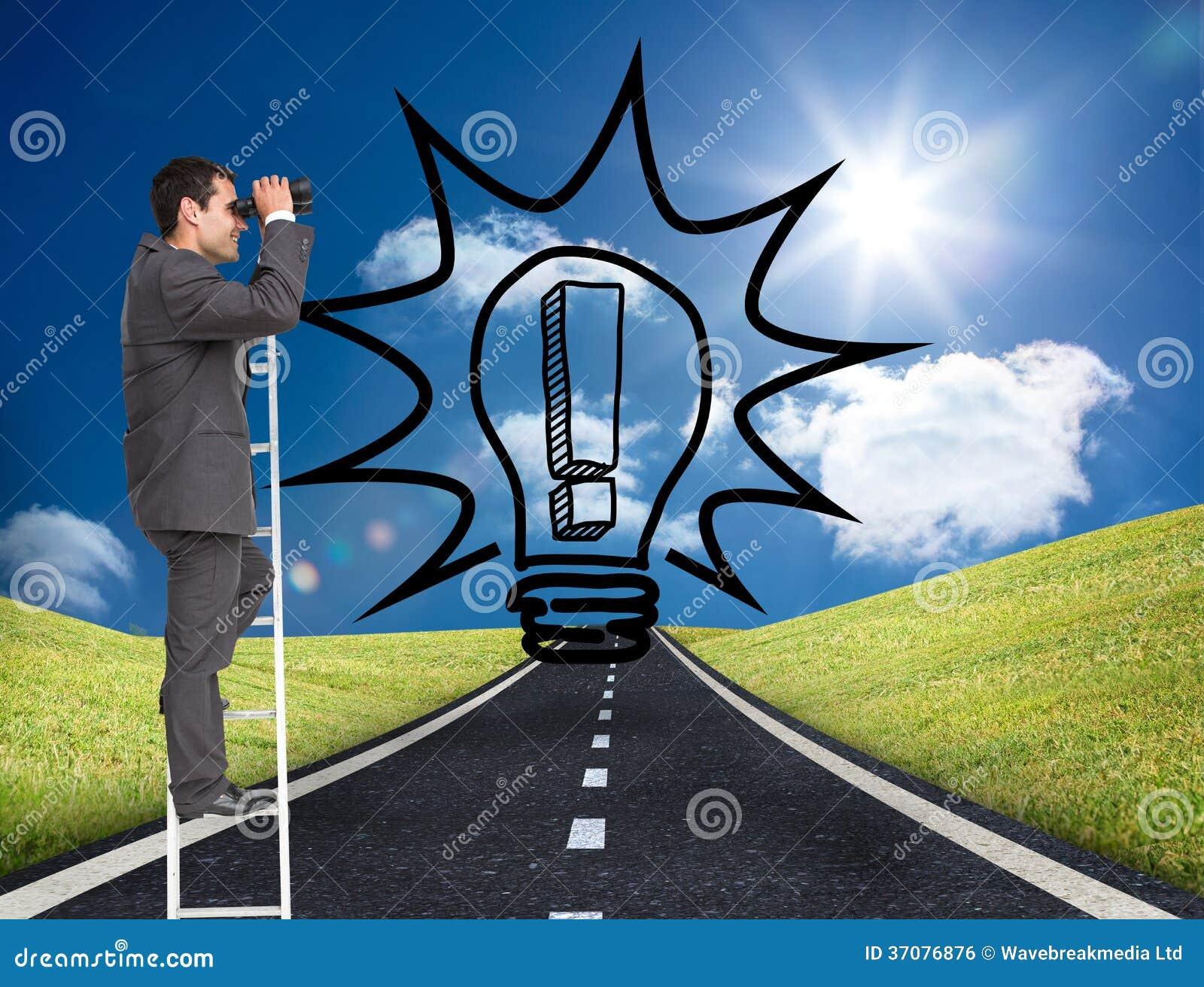 Download Biznesmen Pozycja Na Drabinie Zdjęcie Stock - Obraz złożonej z odległość, mężczyzna: 37076876