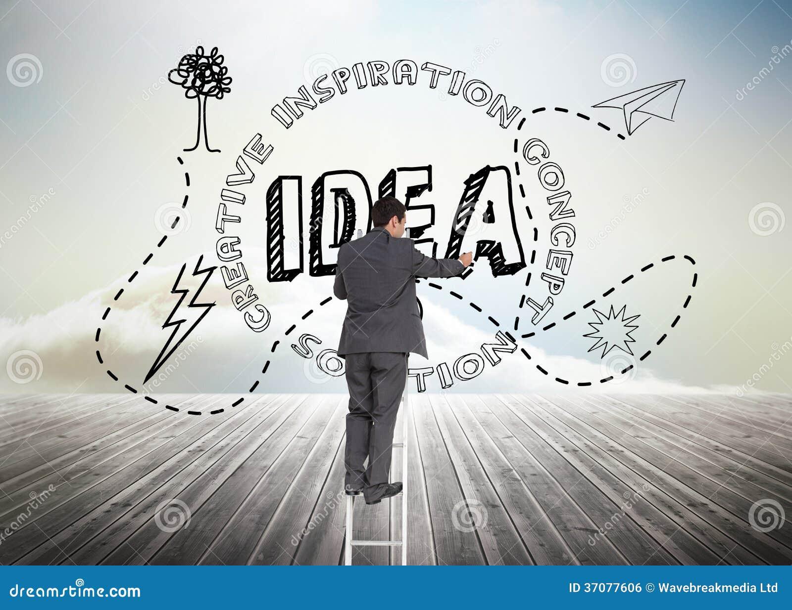 Download Biznesmen Pozycja Na Drabinie Zdjęcie Stock - Obraz złożonej z pomysł, inspiracja: 37077606