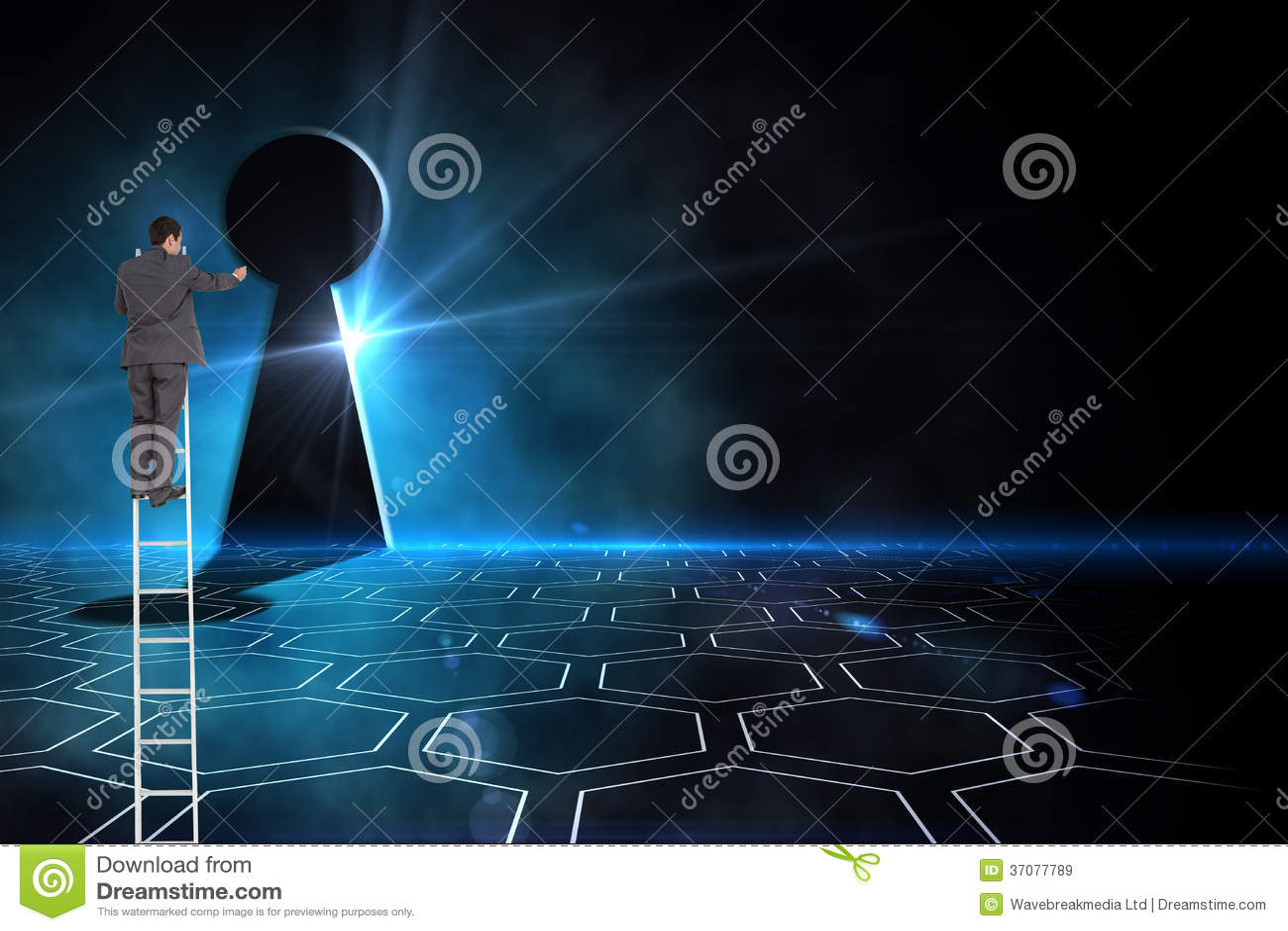 Download Biznesmen Pozycja Na Drabinie Obraz Stock - Obraz złożonej z biznesmen, digitise: 37077789