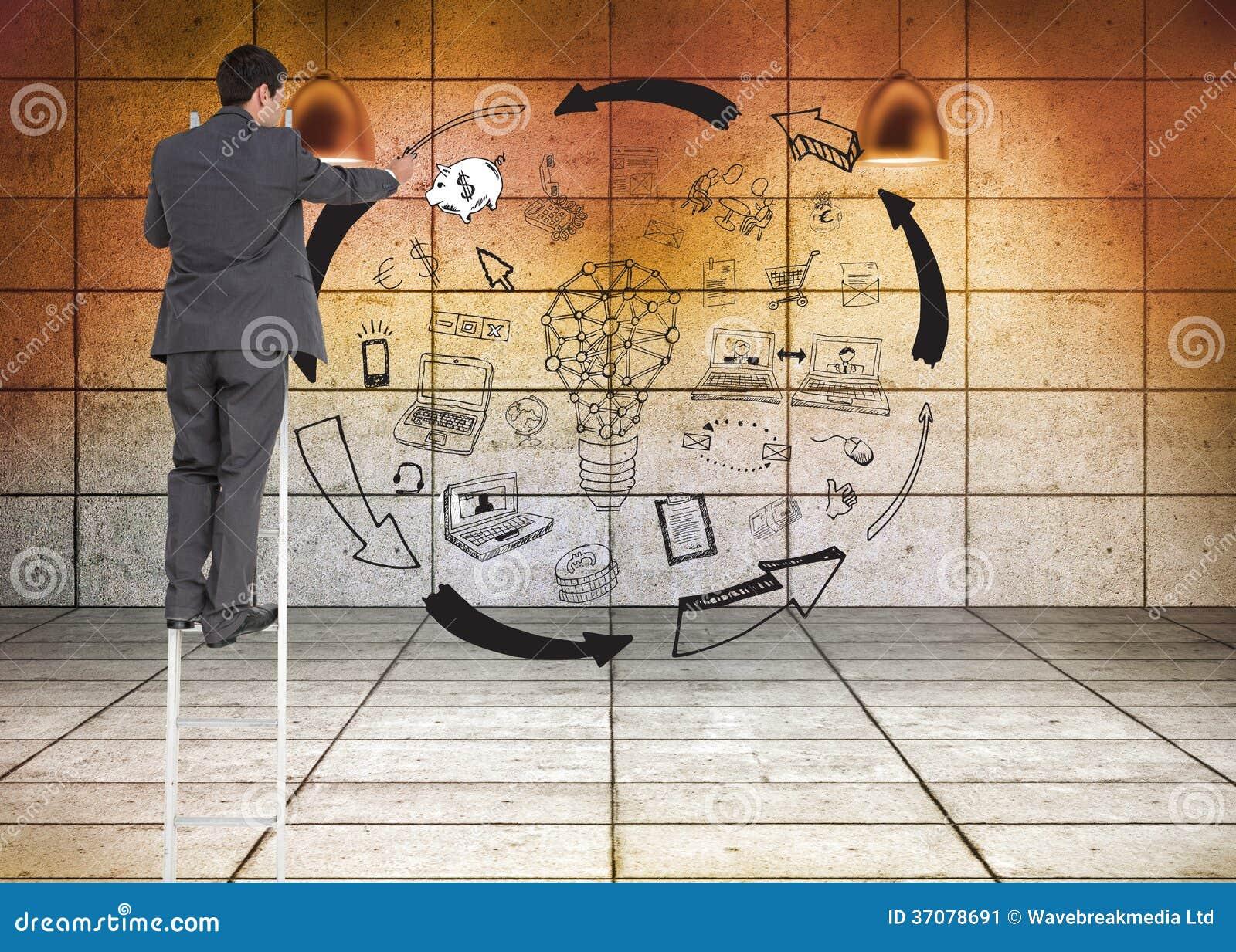 Download Biznesmen Pozycja Na Drabinie Obraz Stock - Obraz złożonej z potomstwa, grafika: 37078691