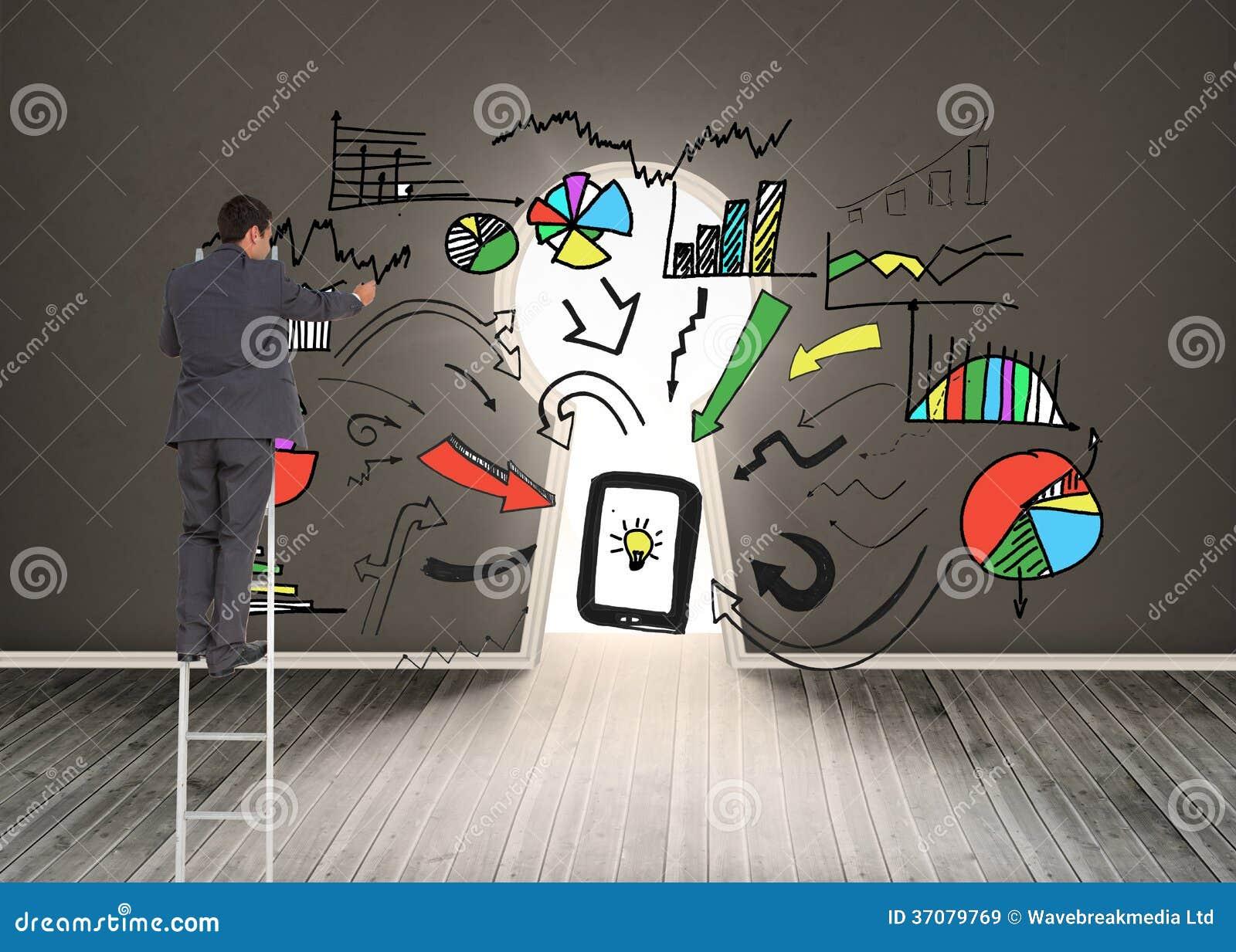Download Biznesmen Pozycja Na Drabinie Obraz Stock - Obraz złożonej z osoba, wallah: 37079769
