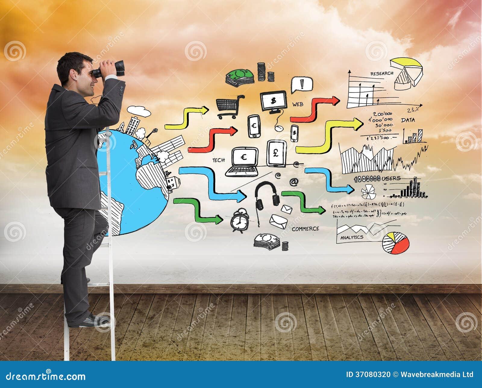Download Biznesmen Pozycja Na Drabinie Zdjęcie Stock - Obraz złożonej z digitalis, przyrost: 37080320