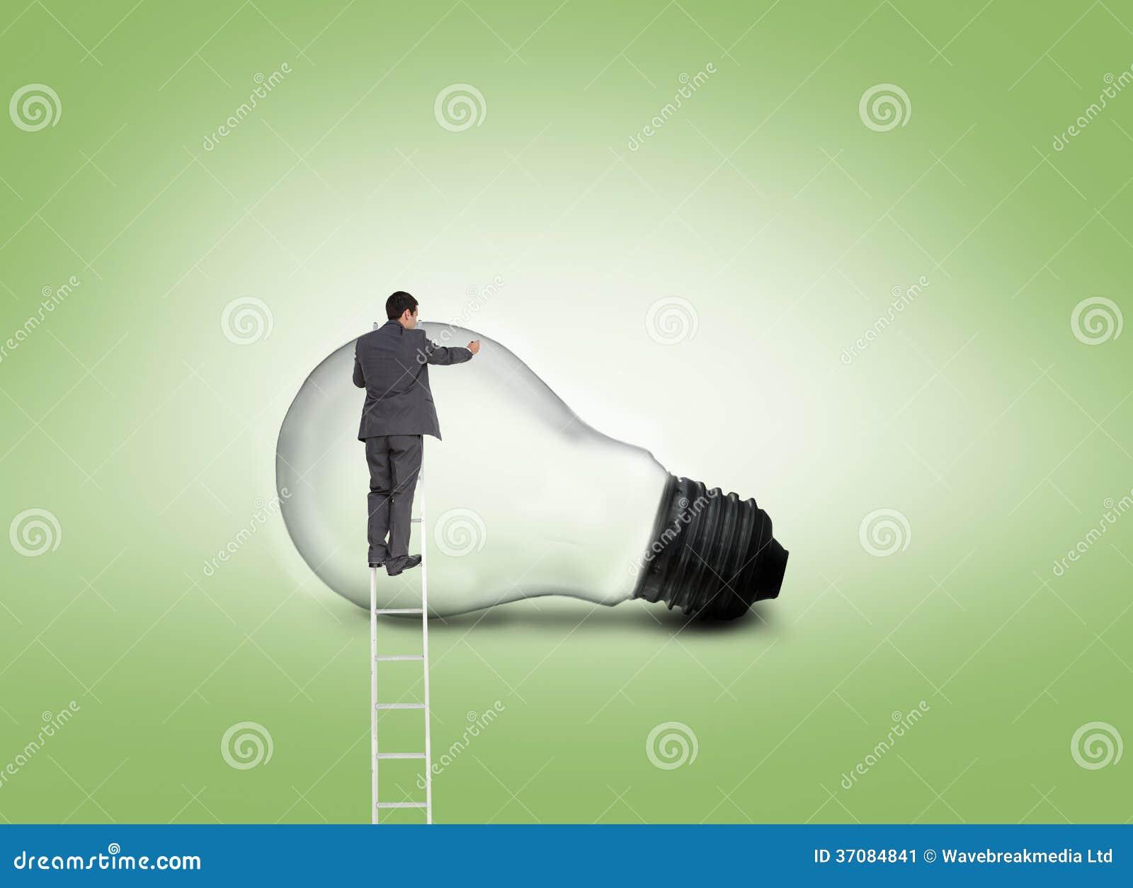 Download Biznesmen Pozycja Na Drabinie Obraz Stock - Obraz złożonej z greenbacks, tło: 37084841