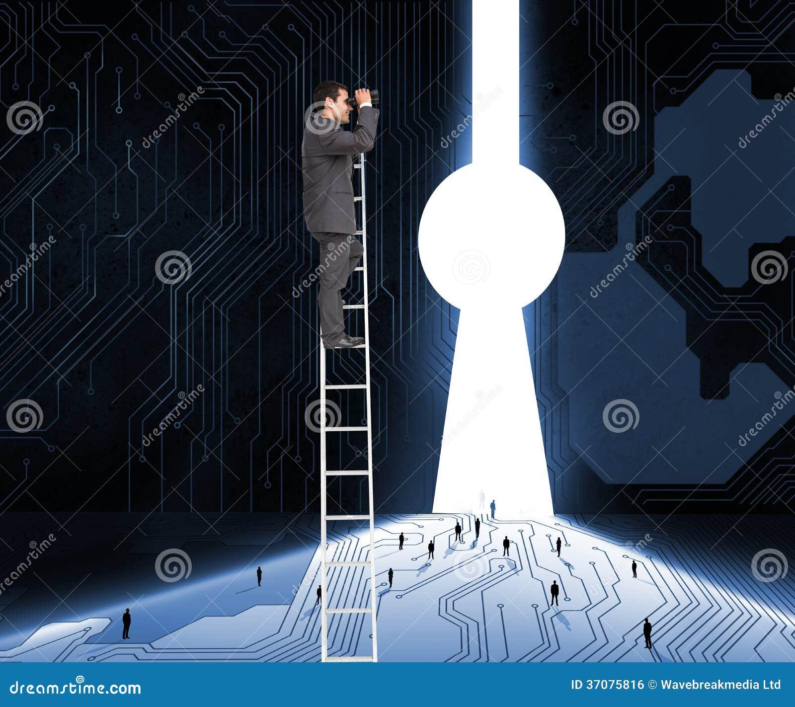 Download Biznesmen Pozycja Na Drabinie Używać Lornetkę Zdjęcie Stock - Obraz złożonej z drzwi, technologia: 37075816