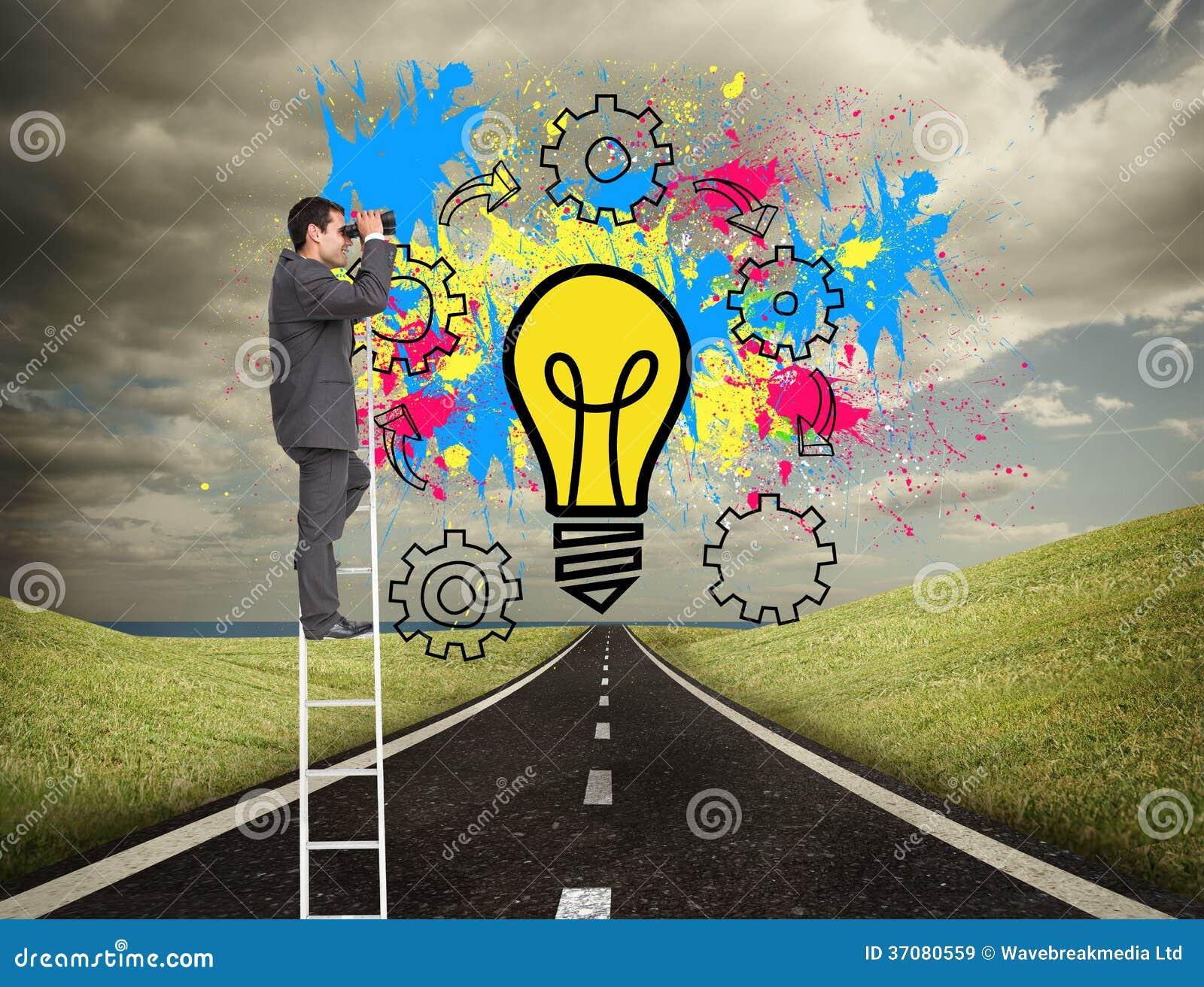 Download Biznesmen Pozycja Na Drabinie Używać Lornetkę Obraz Stock - Obraz złożonej z potomstwa, grafika: 37080559