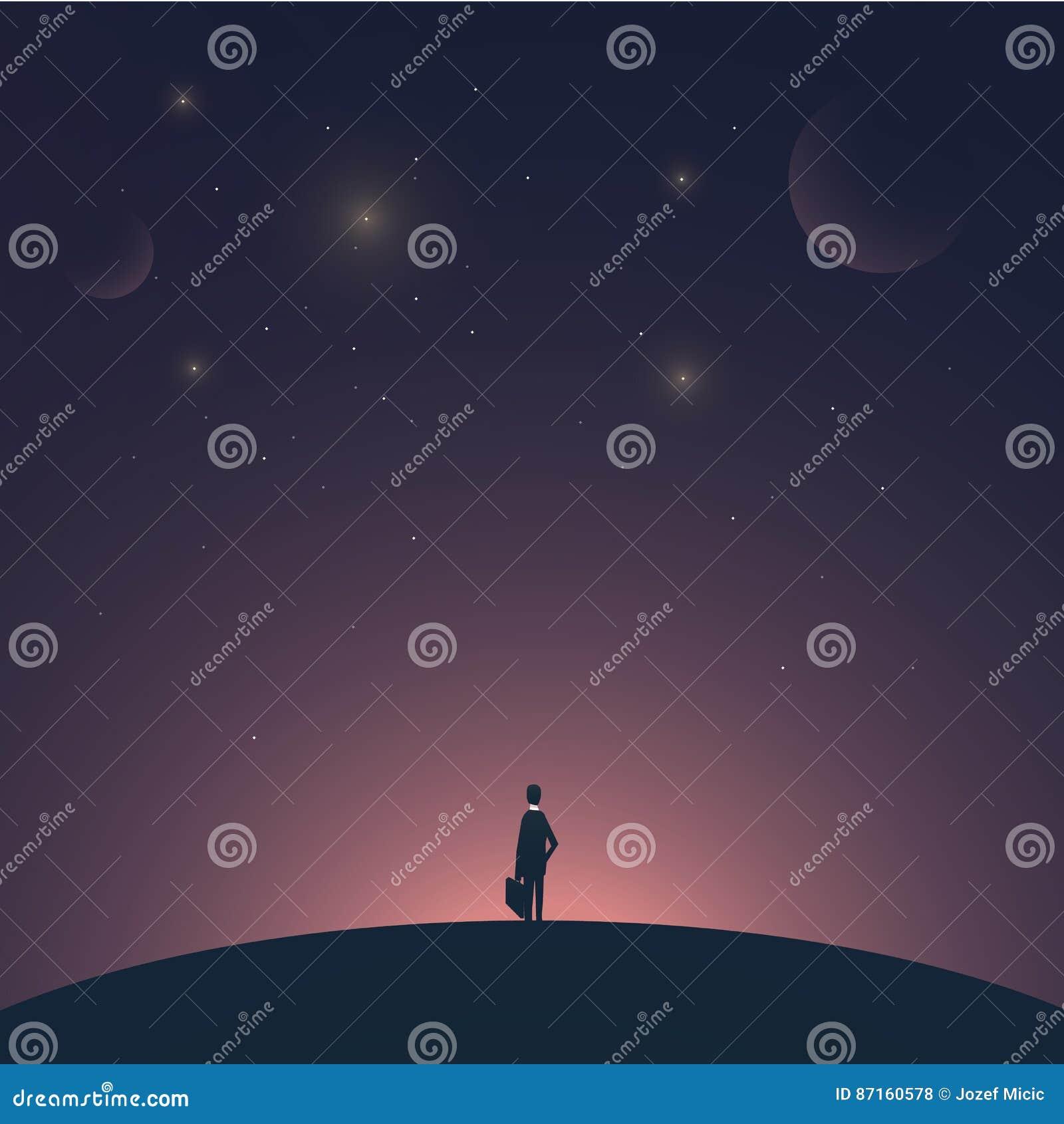 Biznesmen pozycja na planecie z astronautycznym tłem Symbol biznesowy sukces, przedsiębiorca, przyrost, rozpoczęcie