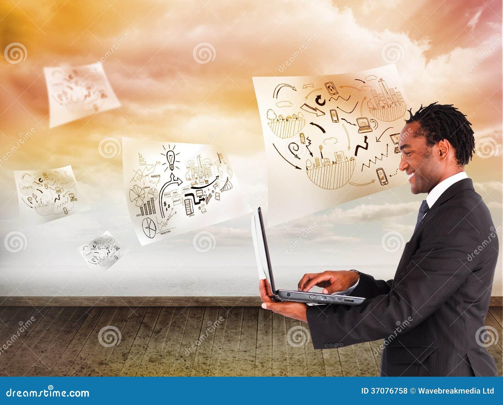 Download Biznesmen Pracuje Na Laptopie Zdjęcie Stock - Obraz złożonej z podłoga, sheik: 37076758