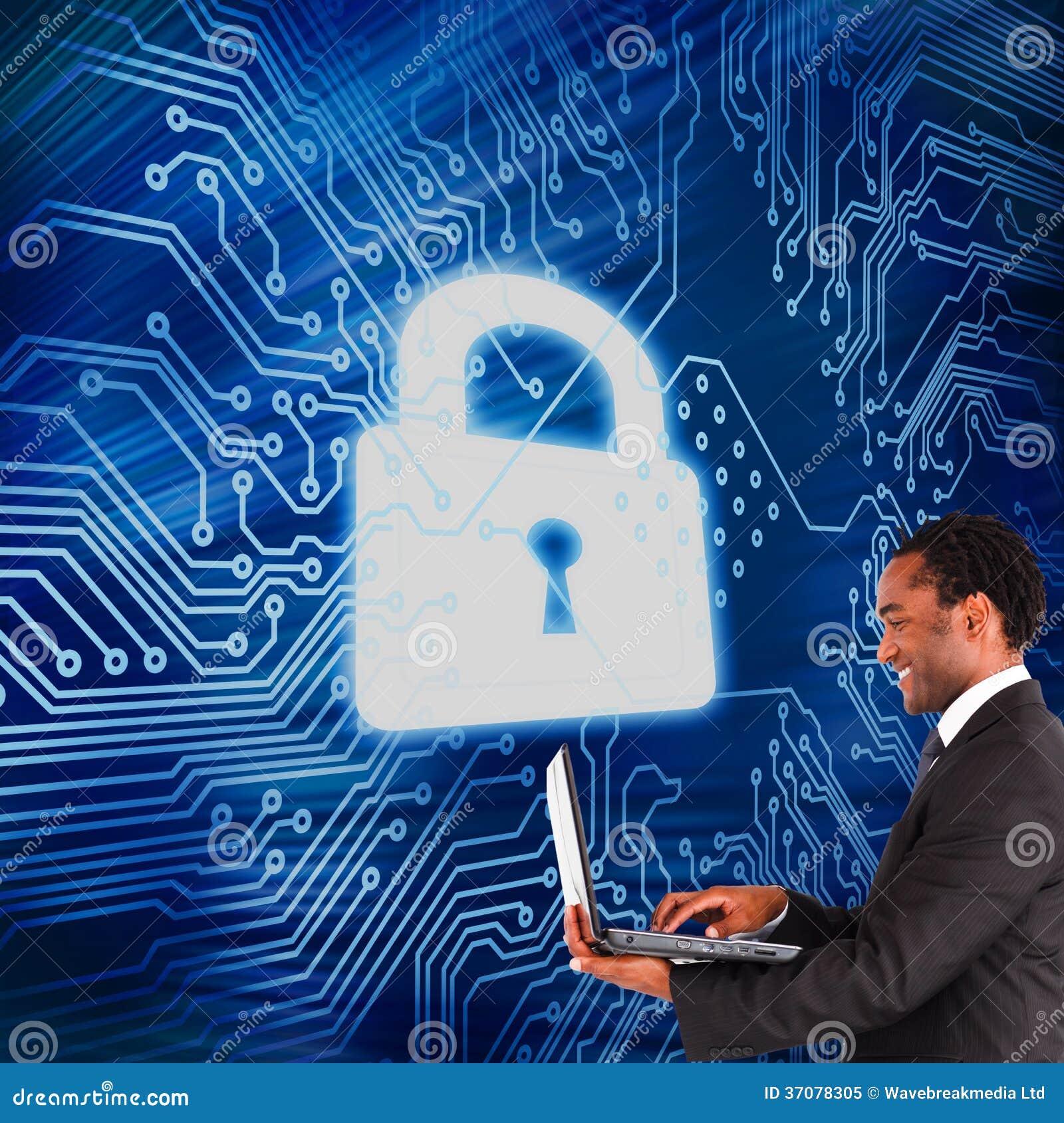 Download Biznesmen Pracuje Na Laptopie Obraz Stock - Obraz złożonej z deska, digitalis: 37078305