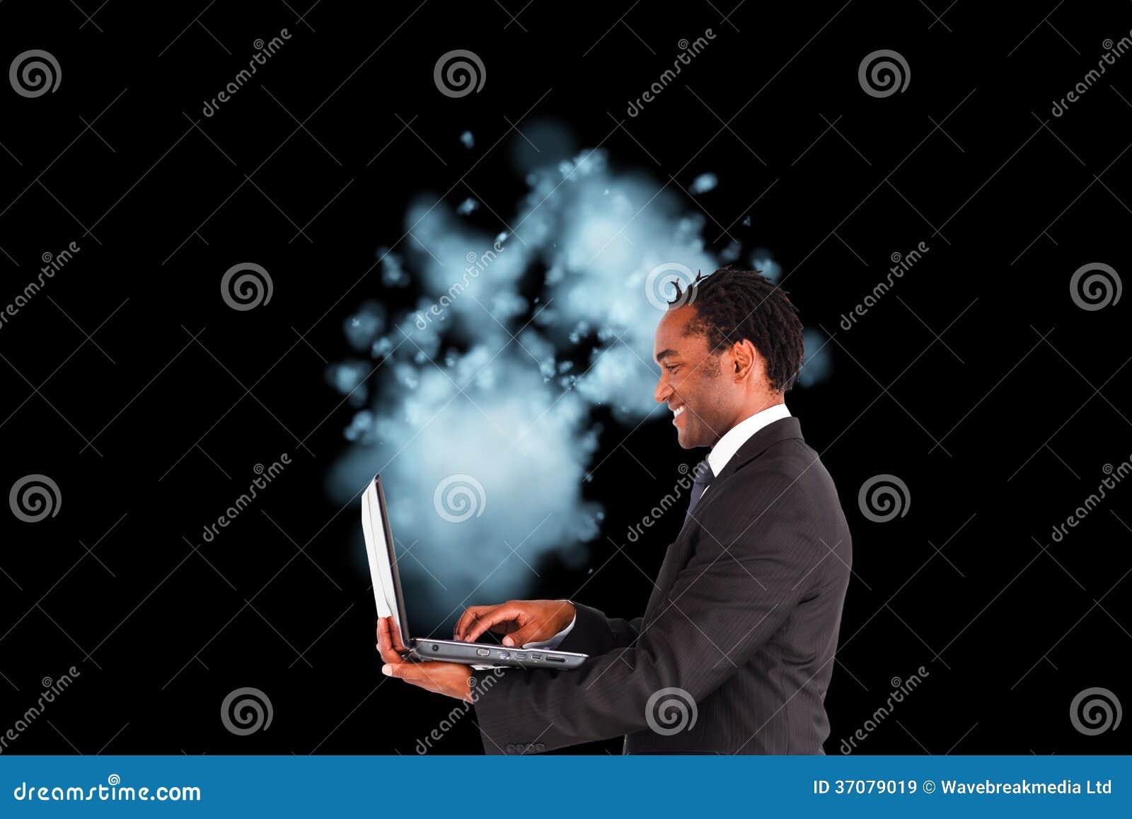Download Biznesmen Pracuje Na Laptopie Obraz Stock - Obraz złożonej z ubierający, osoba: 37079019