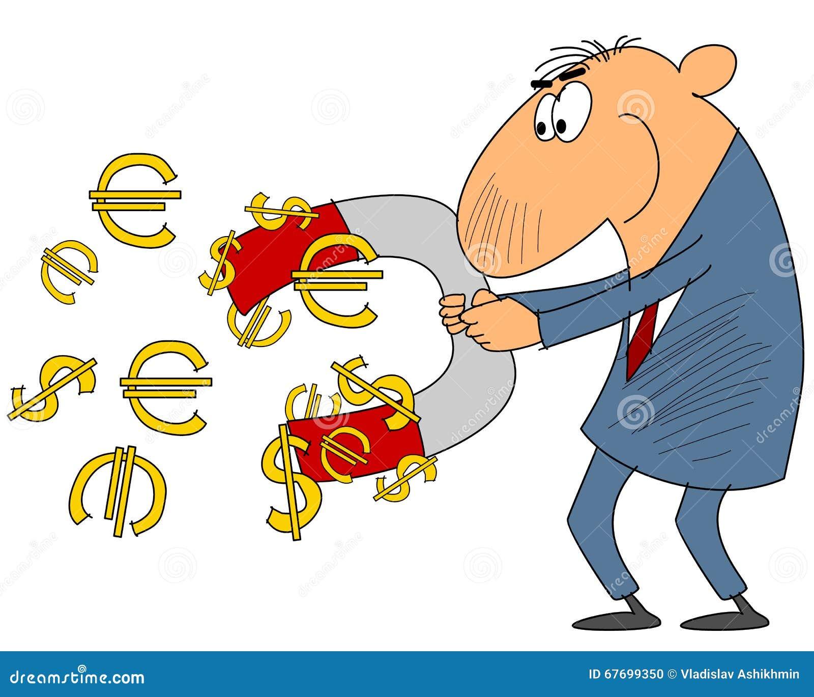Biznesmen przyciąga pieniądze