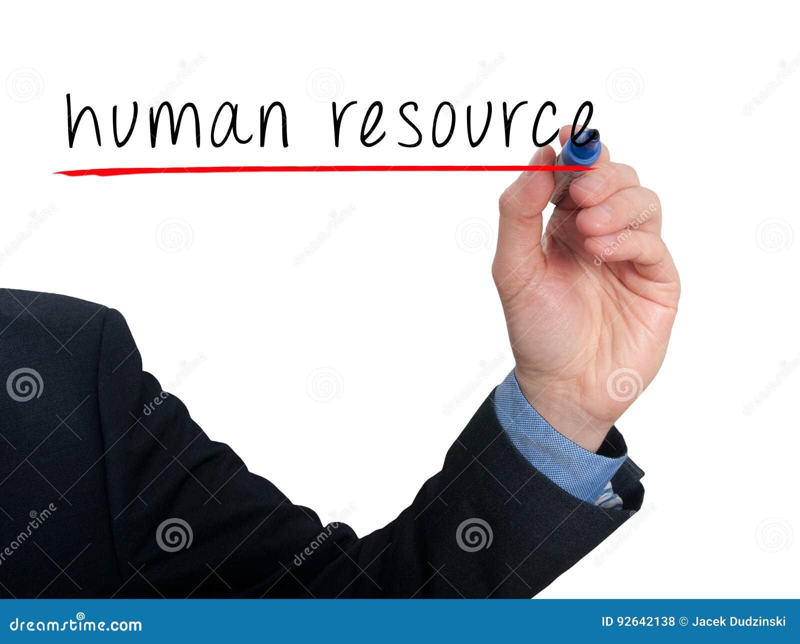 Biznesmen ręki writing dział zasobów ludzkich w powietrzu
