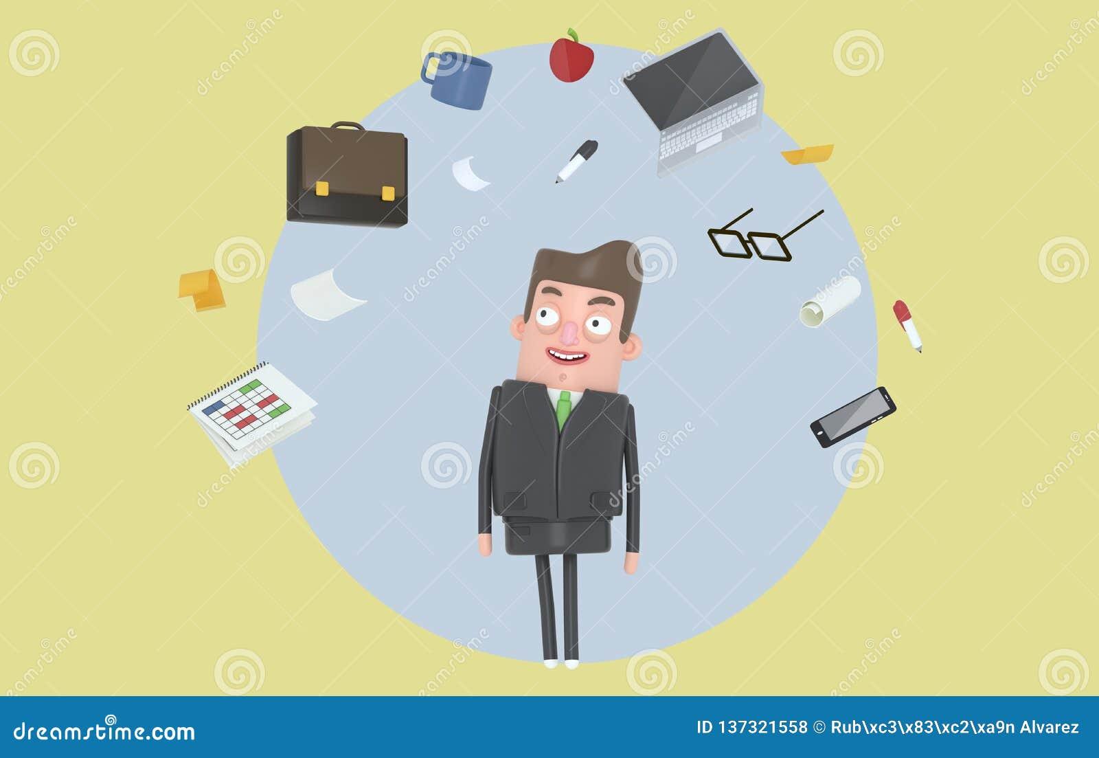 Biznesmen relaksuje patrzejący biurowych akcesoria Tło odosobniony