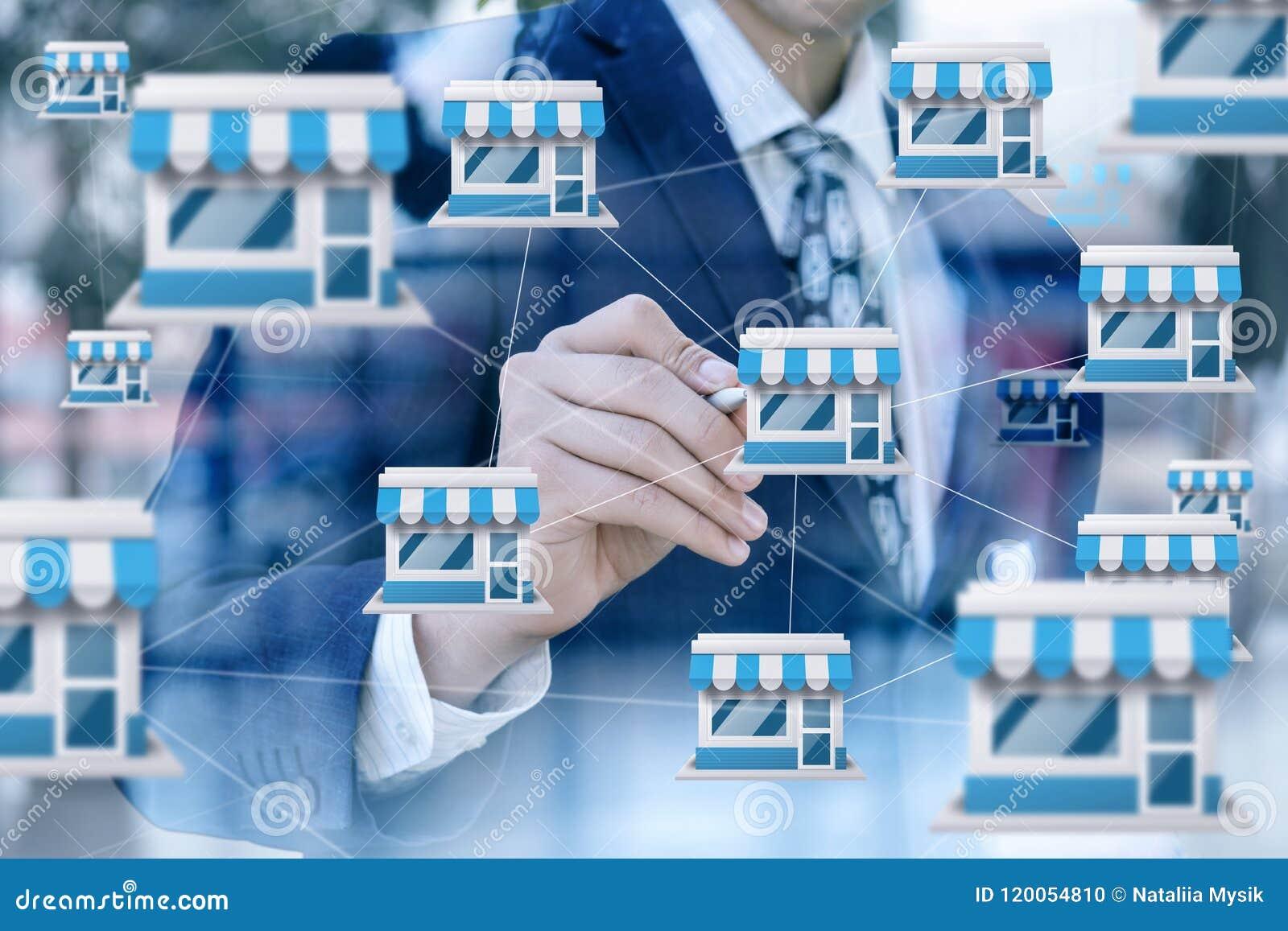 Biznesmen rysuje przywileju marketingowego system