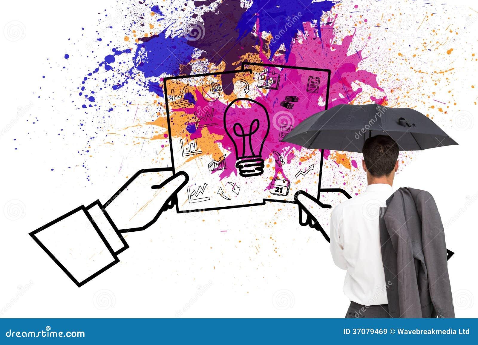 Download Biznesmen Trwanie Kamery Mienia Kurtka Na Ramieniu I Parasol Z Powrotem Obraz Stock - Obraz złożonej z farba, jeden: 37079469