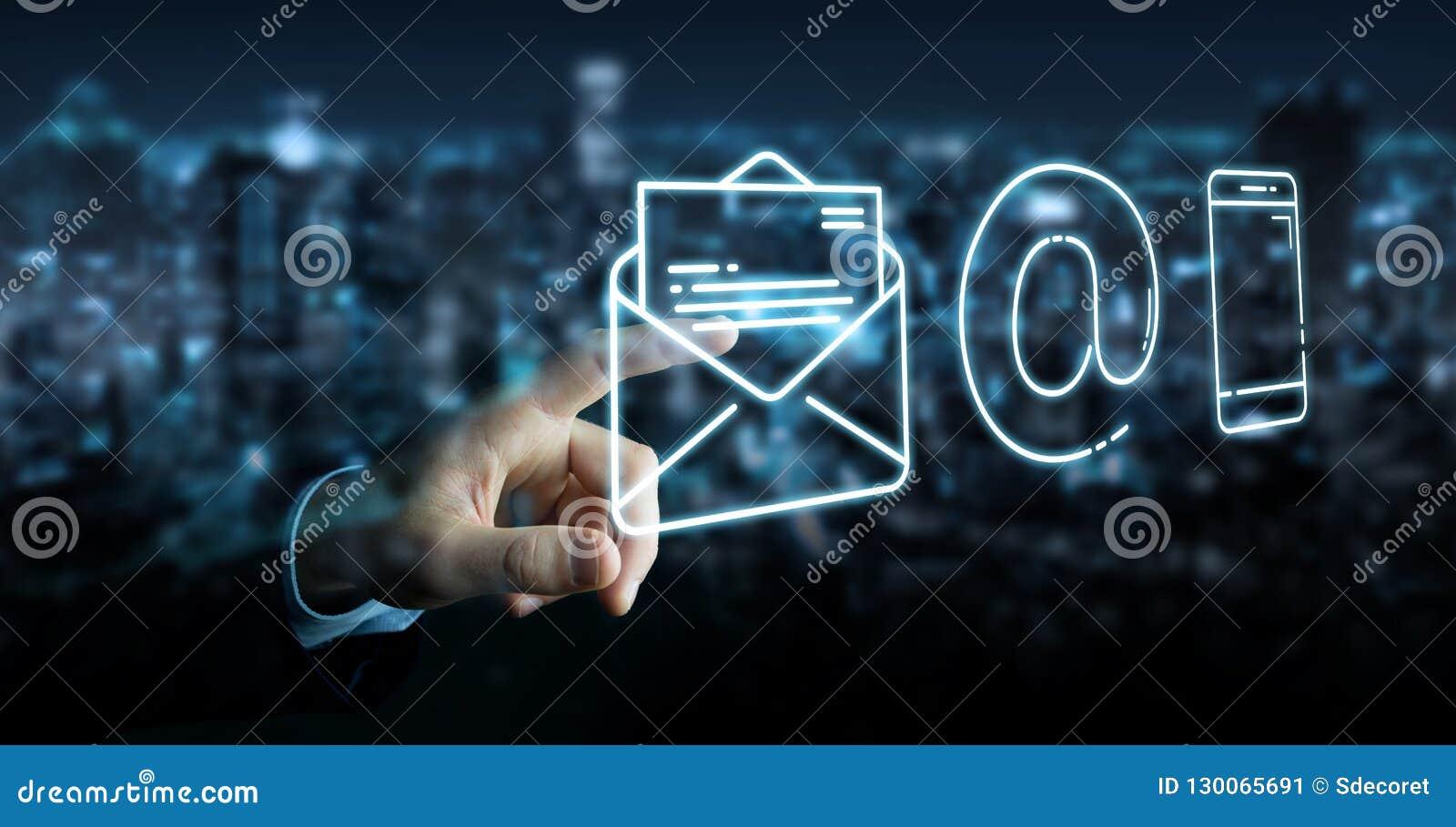 Biznesmen używa cienką linia kontaktu ikonę