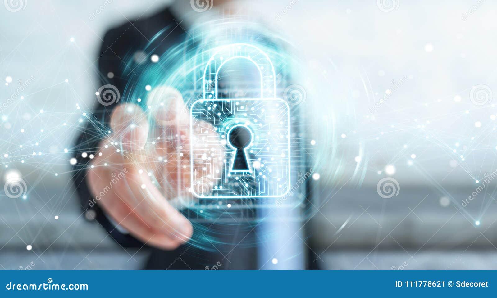 Biznesmen używa cyfrową kłódkę z dane ochroną 3D odpłaca się