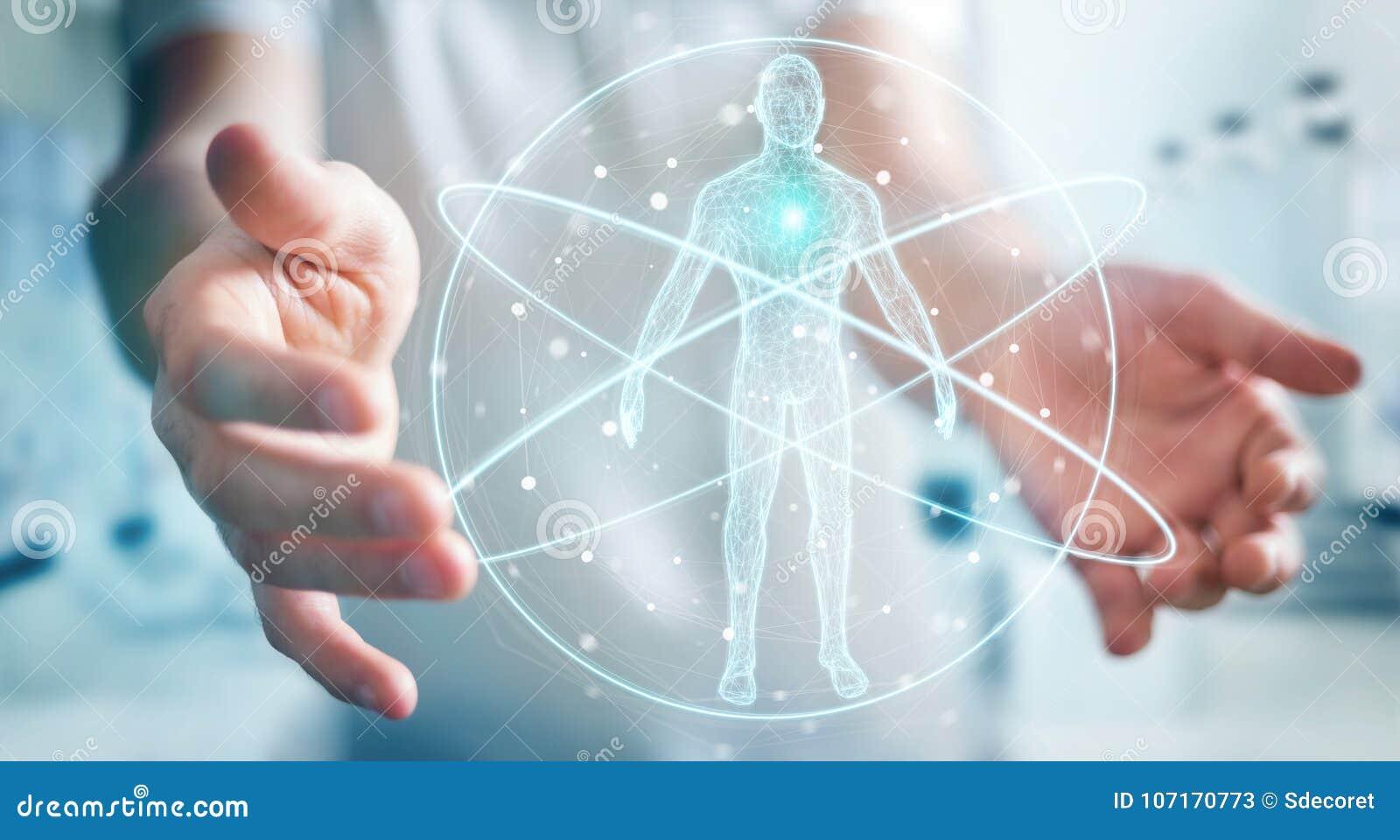 Biznesmen używa cyfrowego promieniowania rentgenowskiego ciała ludzkiego obrazu cyfrowego interfejs 3D ren