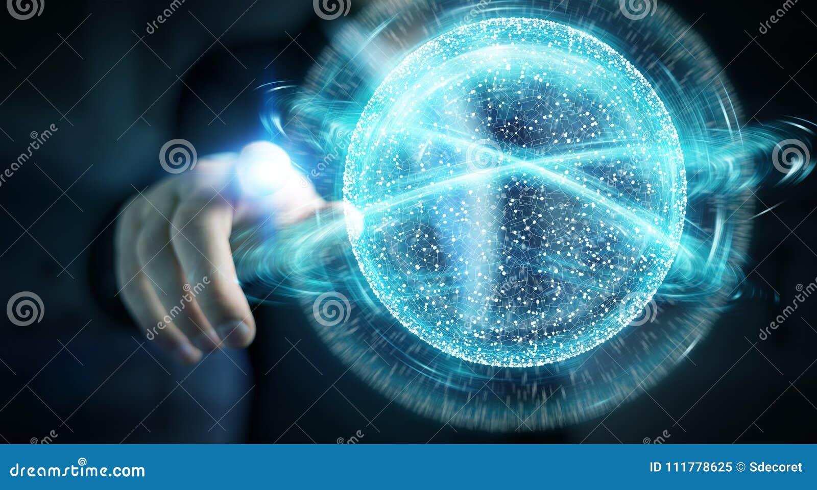 Biznesmen używa cyfrowej sieci związku sfery 3D rendering