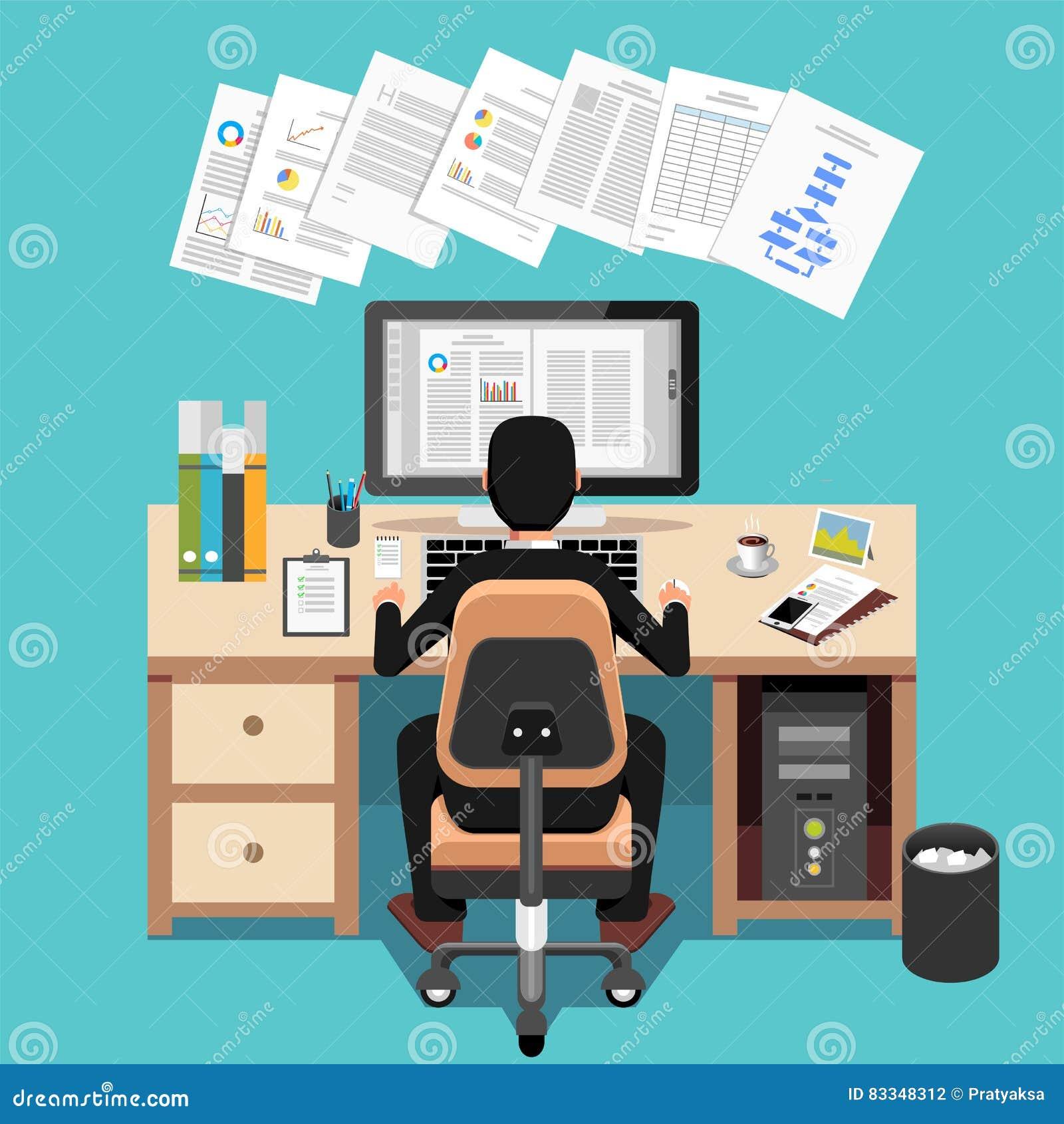Biznesmen Używa komputer Przy biurkiem