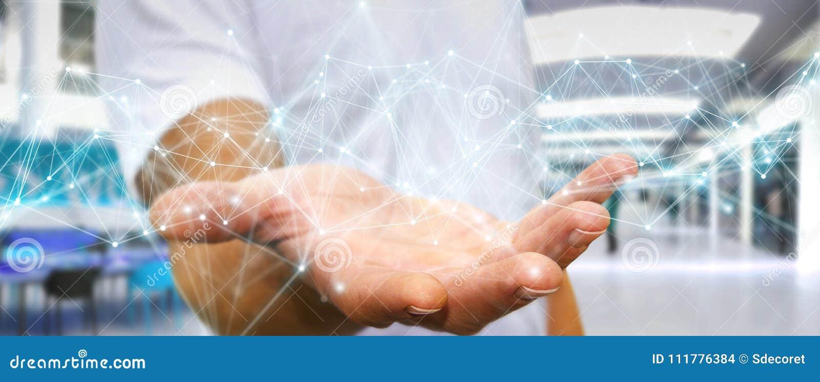 Biznesmen używa latającego sieć związku 3D rendering
