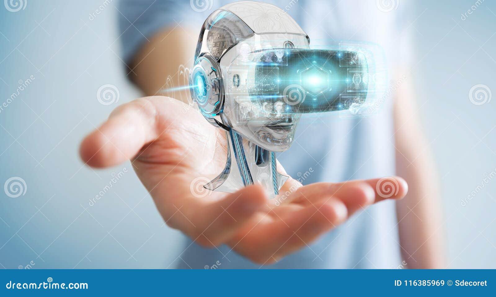 Biznesmen używa rzeczywistość wirtualną 3D i sztuczną inteligencję