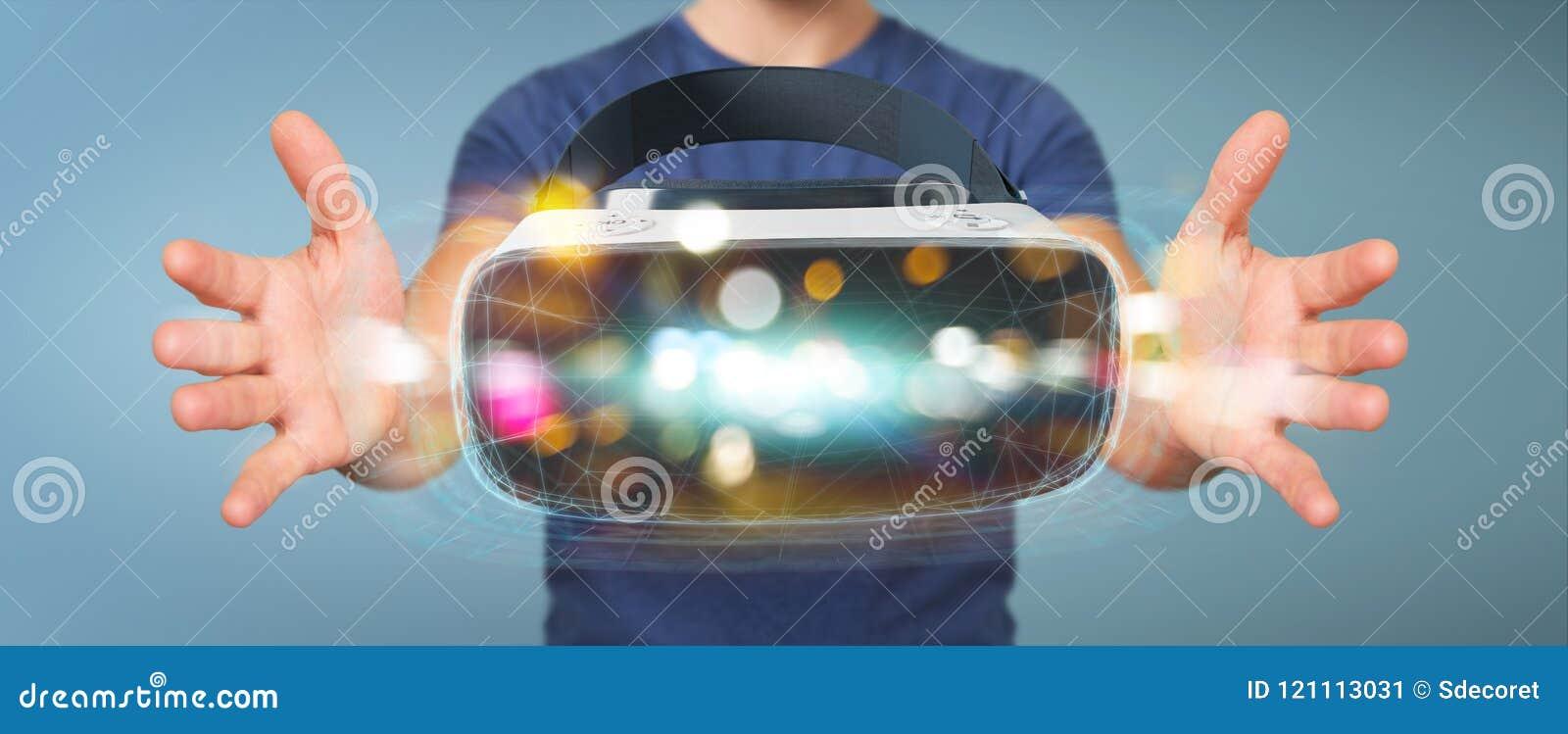 Biznesmen używa rzeczywistość wirtualna szkieł technologii 3D renderin