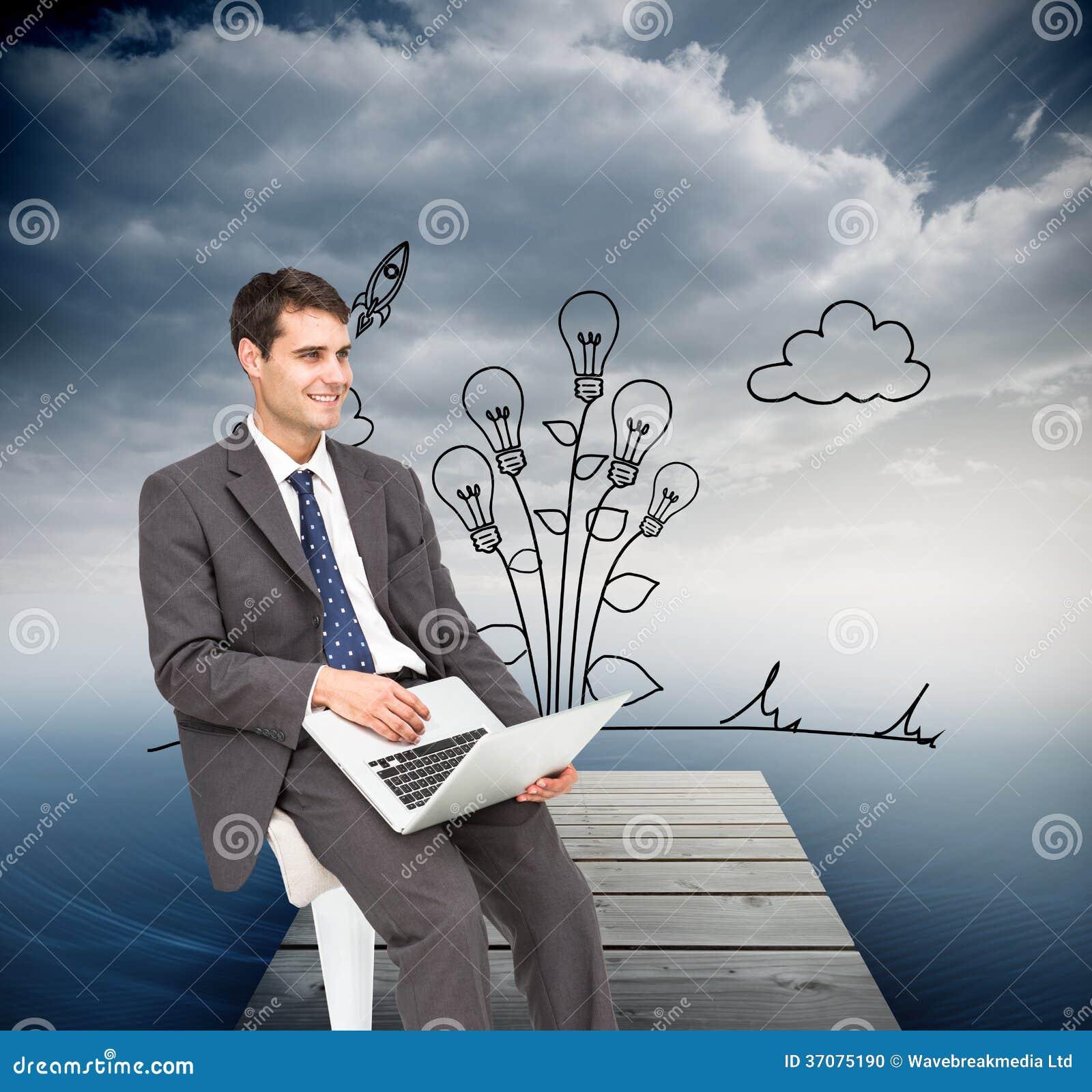 Download Biznesmen używa laptop ilustracji. Ilustracja złożonej z żarówka - 37075190