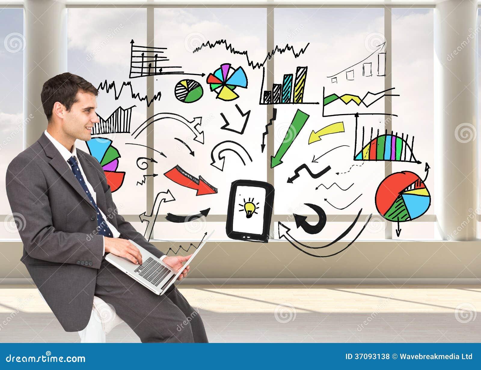 Download Biznesmen używa laptop zdjęcie stock. Obraz złożonej z potomstwa - 37093138