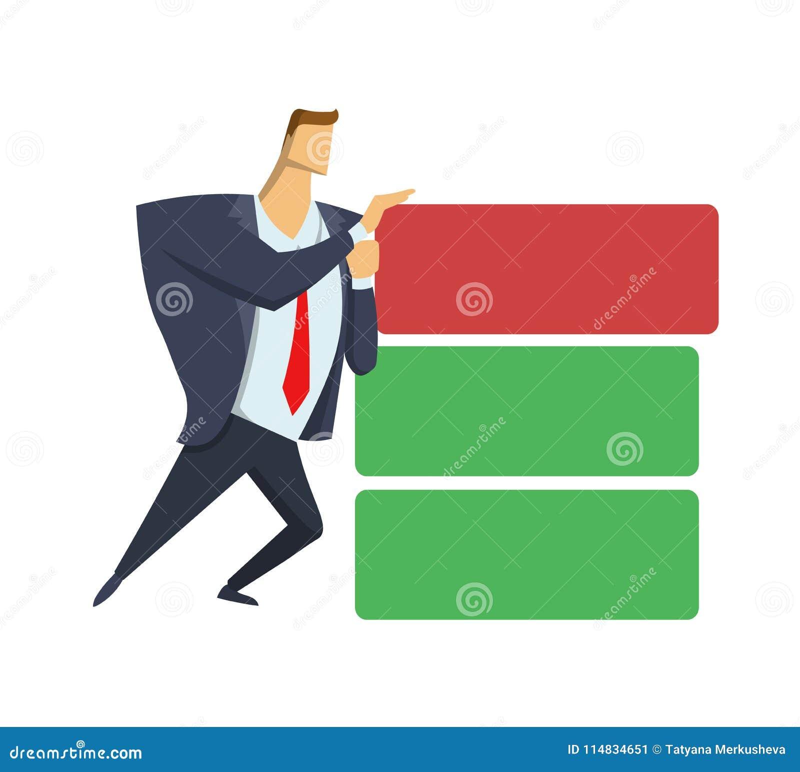 Biznesmen w biurowym kostiumu dosunięcia krzywda bloku z zapasu target147_0_ Anticrisis zarządzanie naglący