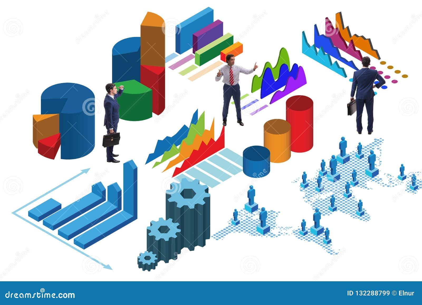 Biznesmen w biznesowym analityki infographics pojęciu