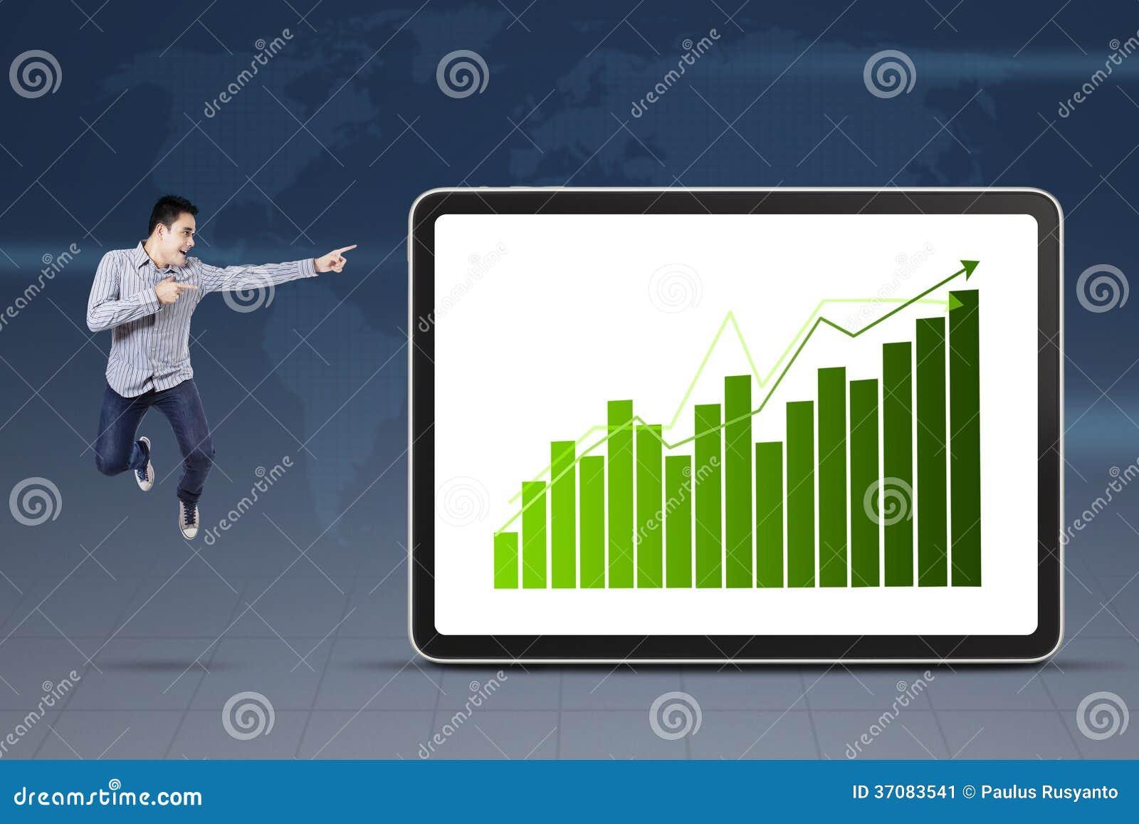 Download Biznesmen Wskazuje Przy Wzrostowym Wykresem Obraz Stock - Obraz złożonej z koreańczyk, hindus: 37083541