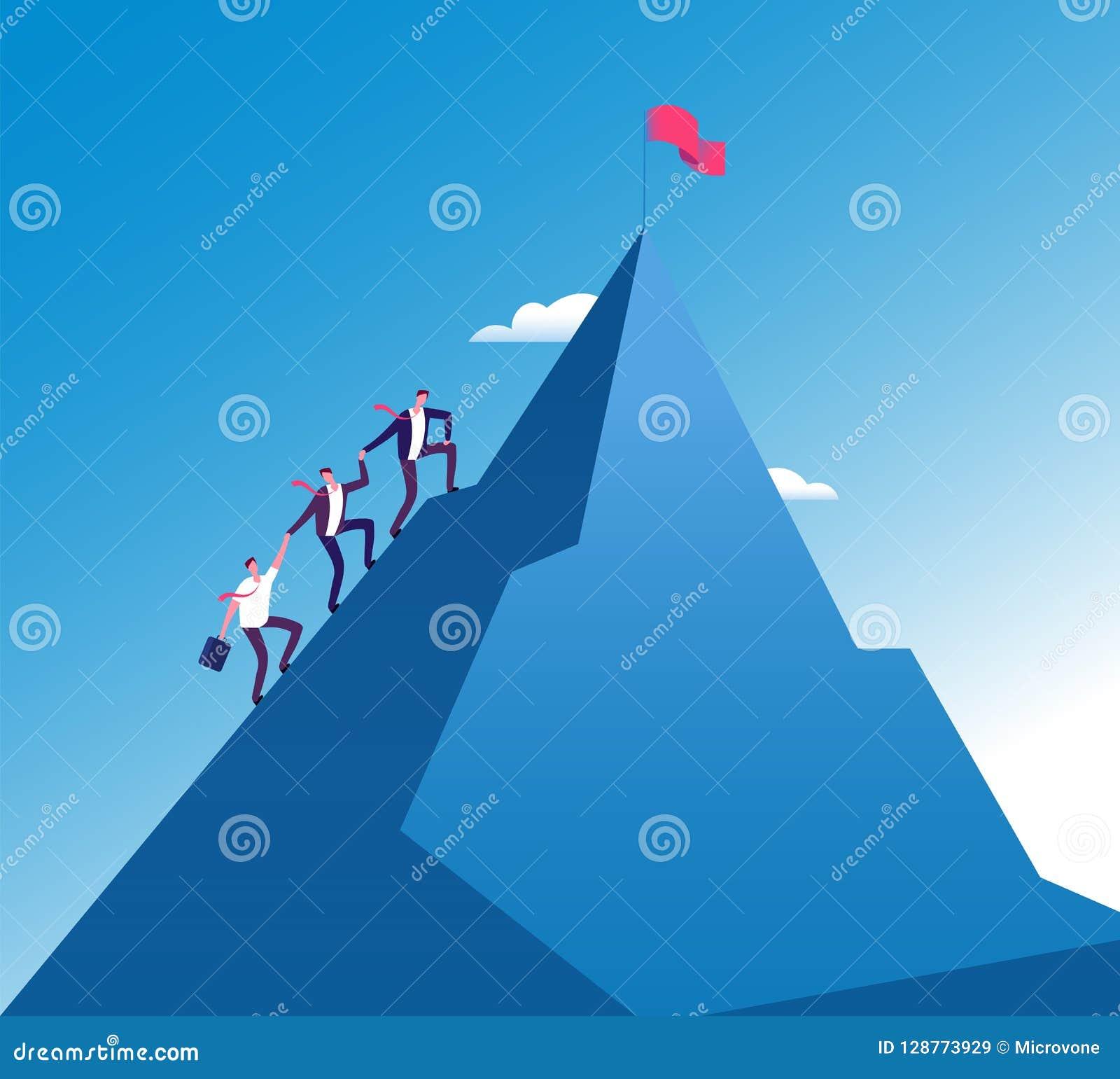 Biznesmen wspinaczki góra Sukces pracy zespołowej korporacyjny przyrost, misi osiągnięcia wektoru pojęcie