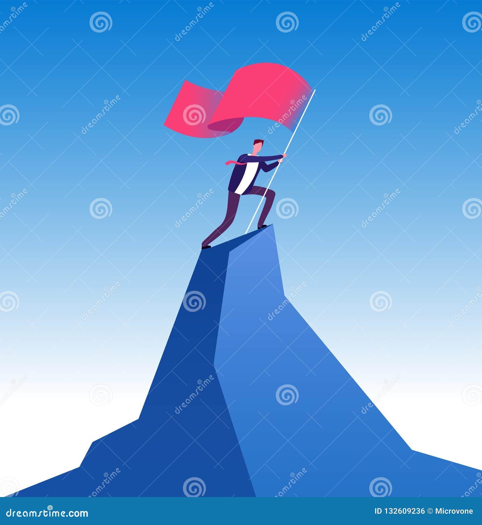 Biznesmen z flaga na halnym szczycie Mężczyzna wspinaczkowy w górę czerwonej flagi z Bramkowy osiągnięcie, przywódctwo i kariera