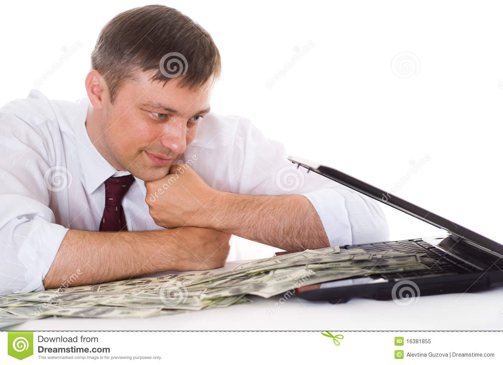 Biznesmen z laptopem
